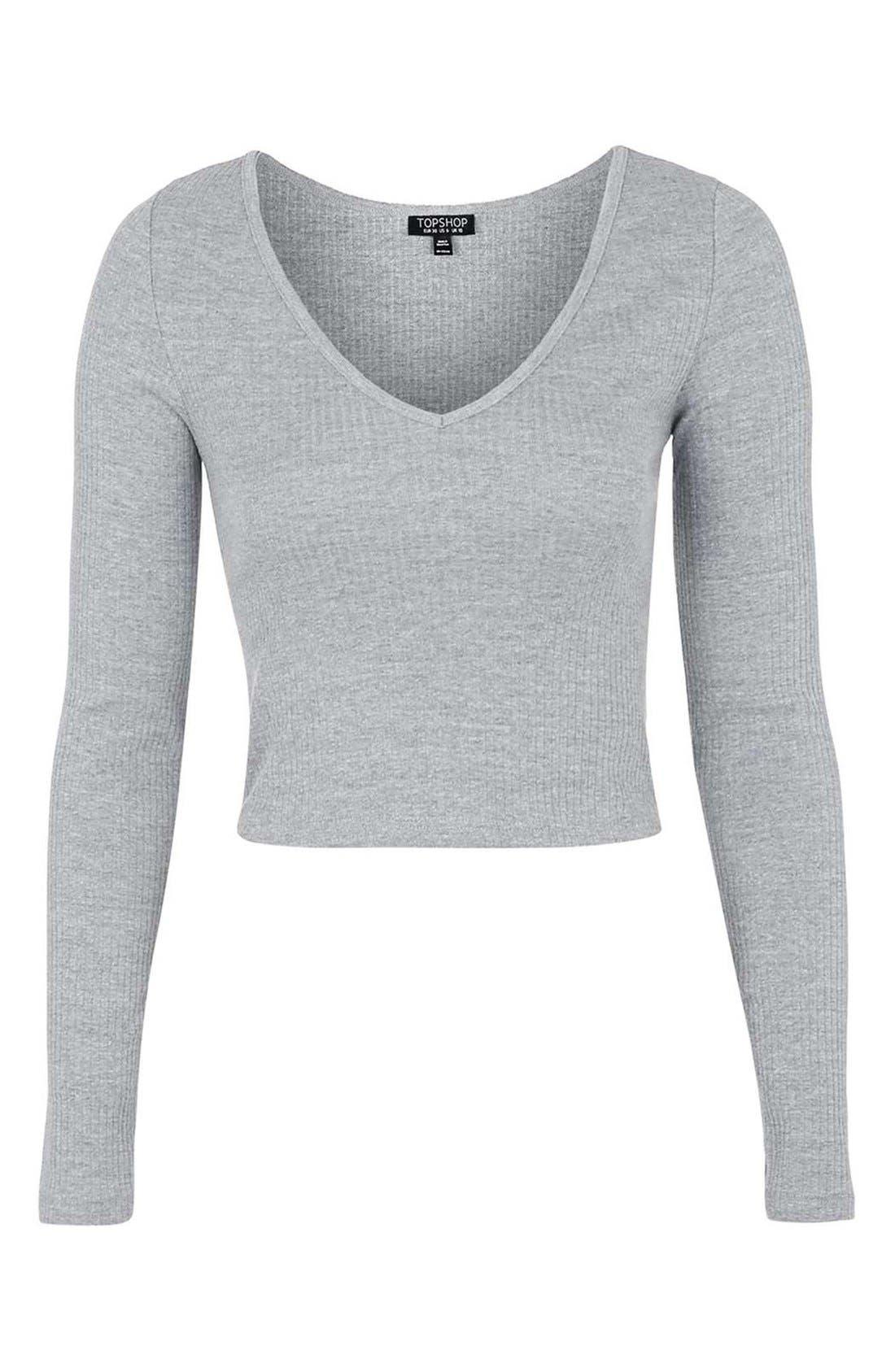 Alternate Image 4  - Topshop V-Neck CropSweater