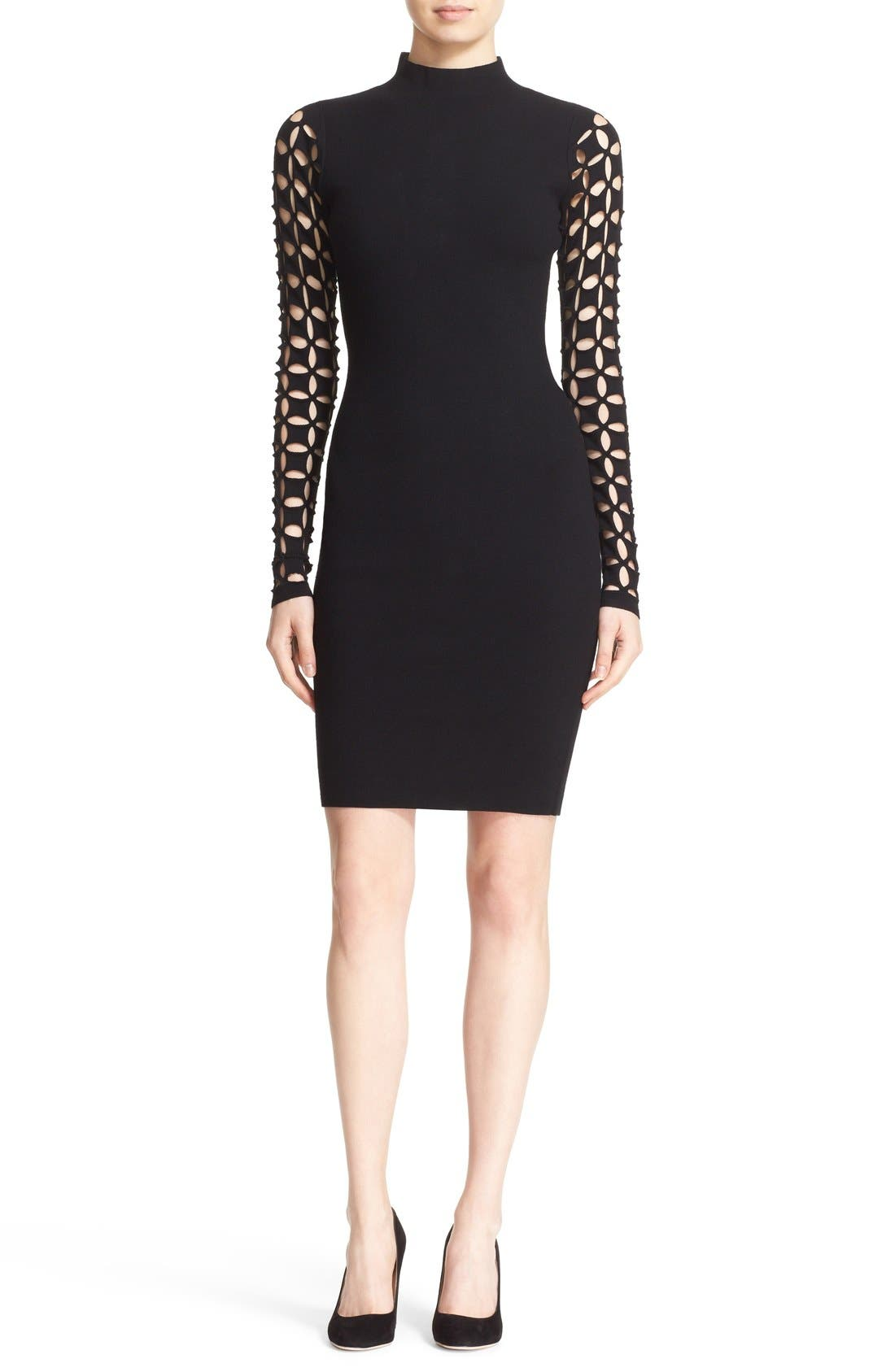 Alternate Image 1 Selected - Milly Lattice Sleeve Fitted Knit Dress