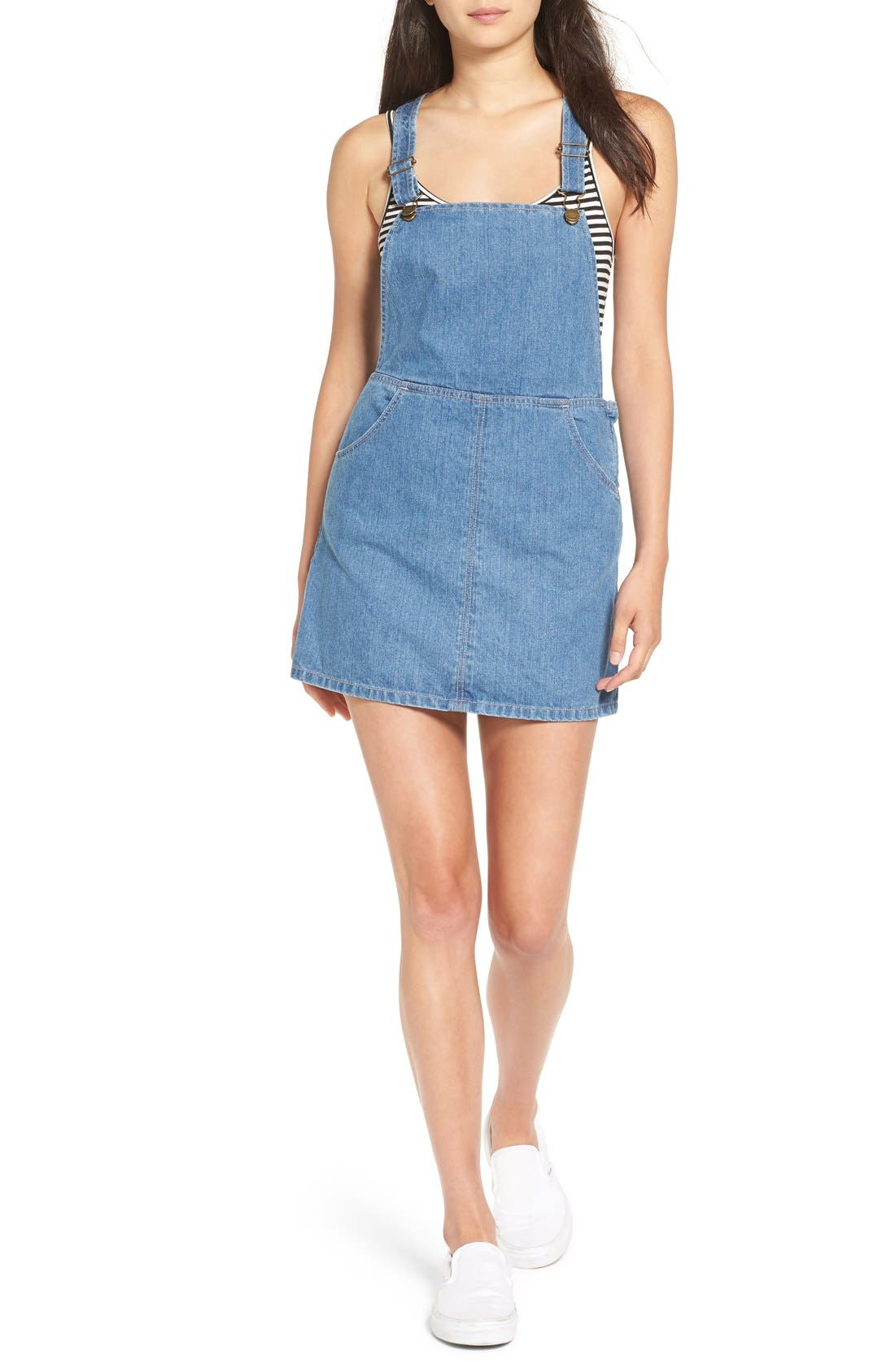 Alternate Image 1 Selected - Billabong 'Saturdaze' Denim Pinafore Dress