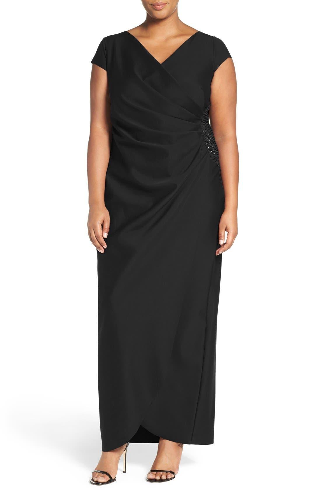 Alex Evenings Embellished Side Pleat Column Gown (Plus Size)