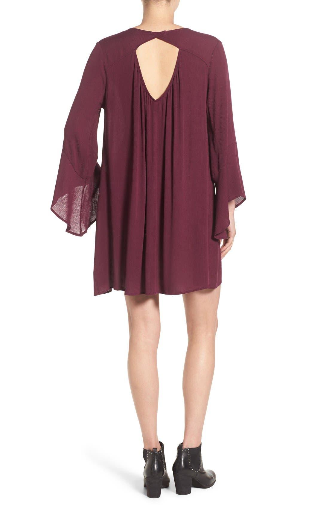 Alternate Image 2  - Lush 'Whitney' Bell Sleeve Woven Shift Dress