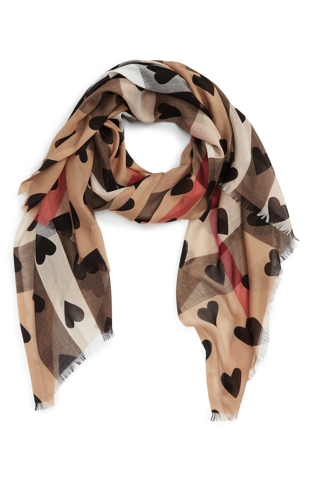 Main Image - Burberry Check & Heart Pattern Scarf