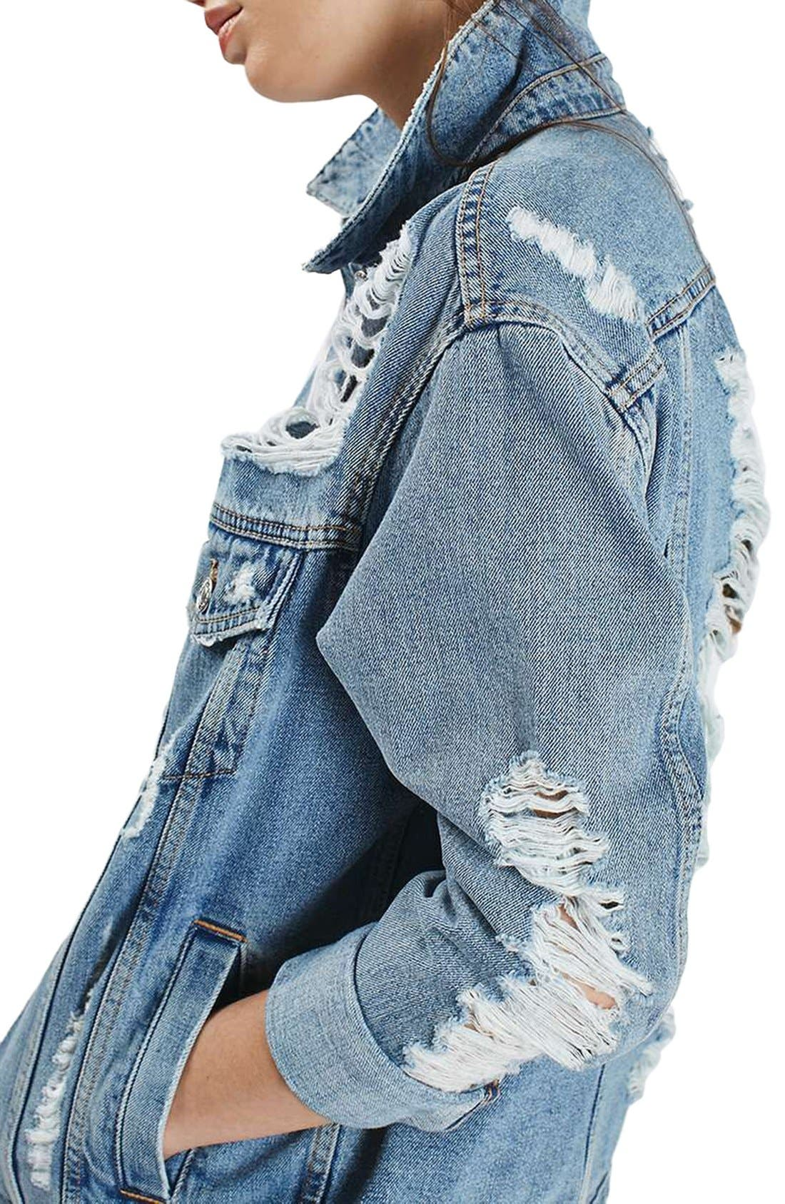 Alternate Image 4  - Topshop Ripped Oversize Denim Jacket