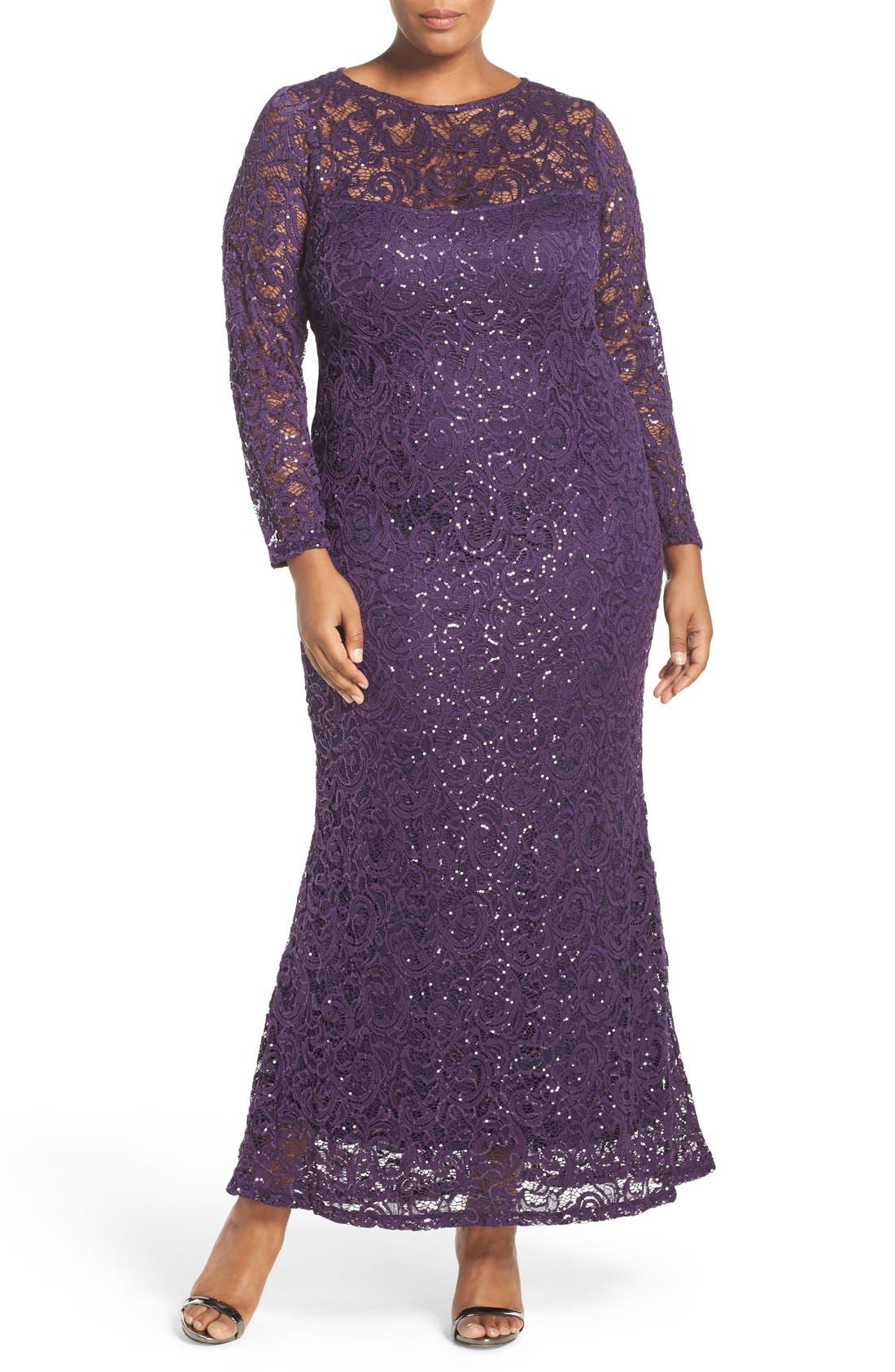MARINA Illusion Yoke & Long Sleeve Lace Gown