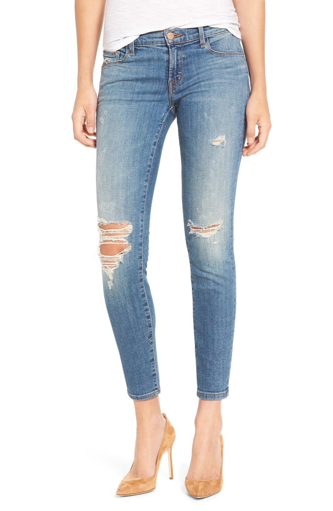 Alternate Image 1 Selected - J Brand Ripped Crop Skinny Jeans (Mischief)