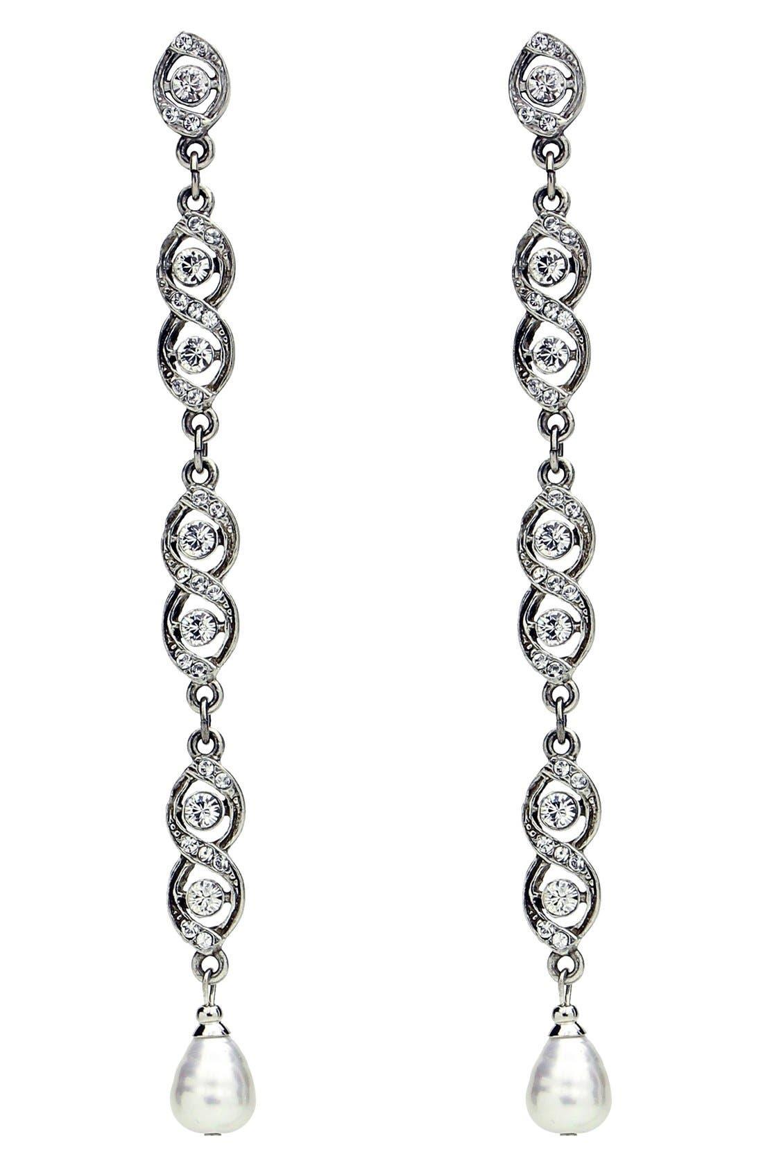 BEN-AMUN Faux Pearl & Crystal Linear Drop Earrings