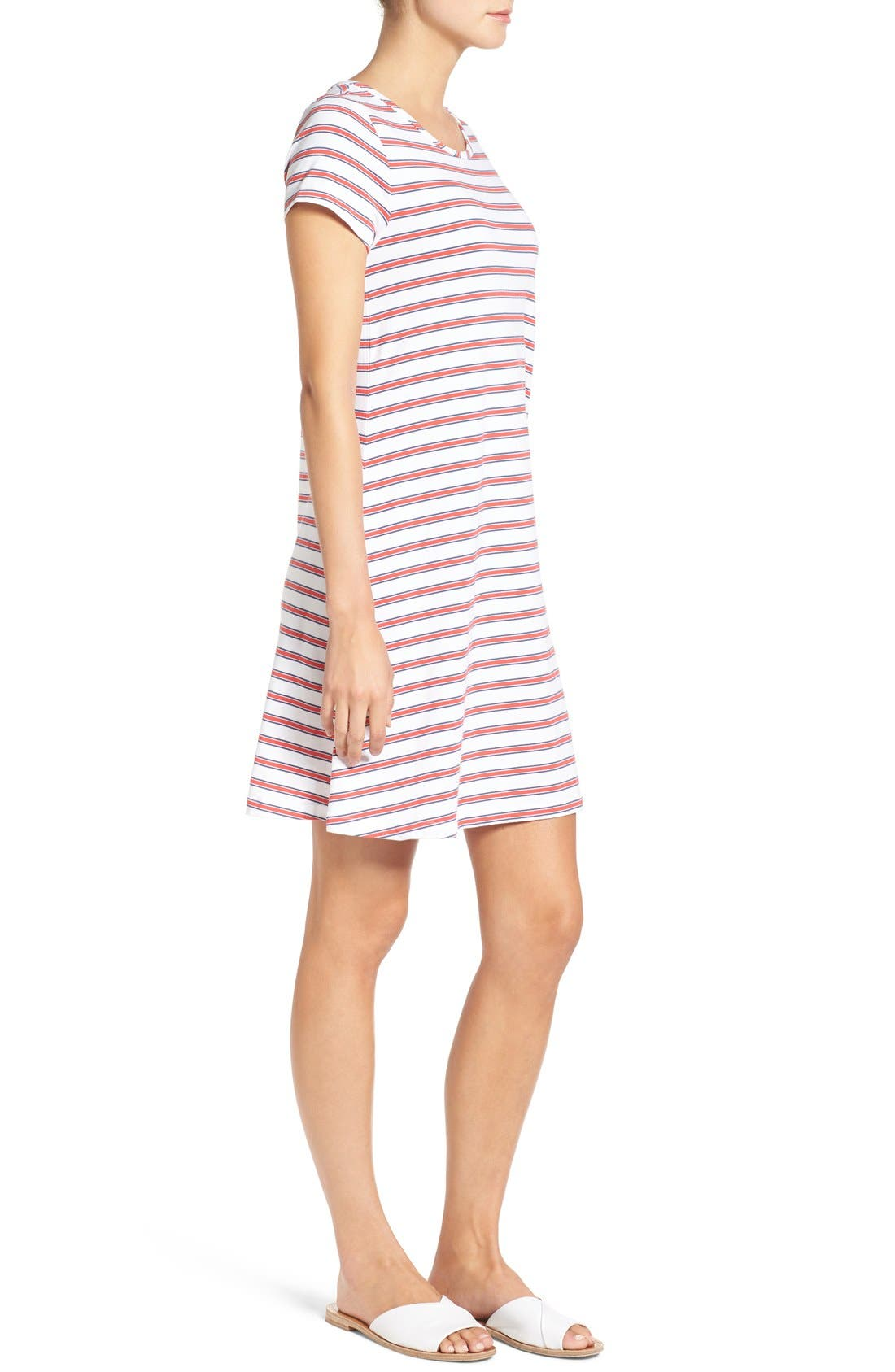 Alternate Image 3  - Vineyard Vines Stripe Knit Stretch Cotton Shirtdress