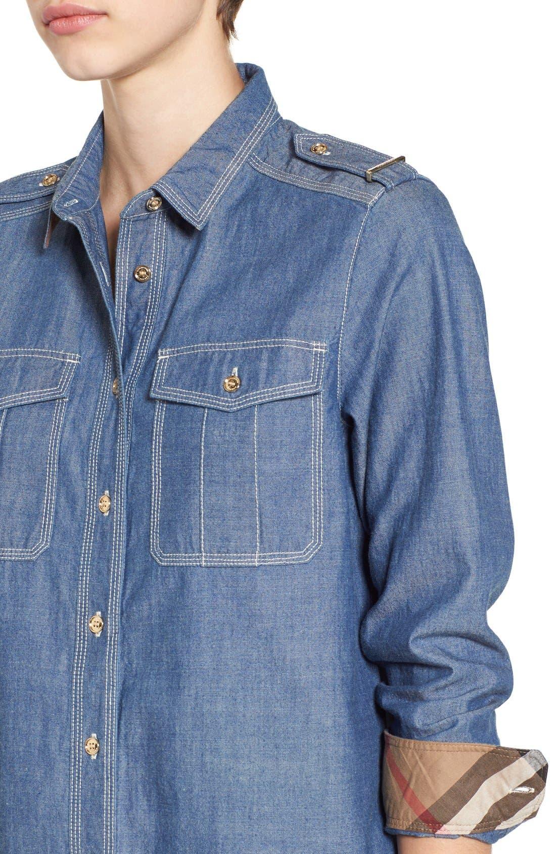 Alternate Image 6  - Burberry Check Cuff Denim Shirt