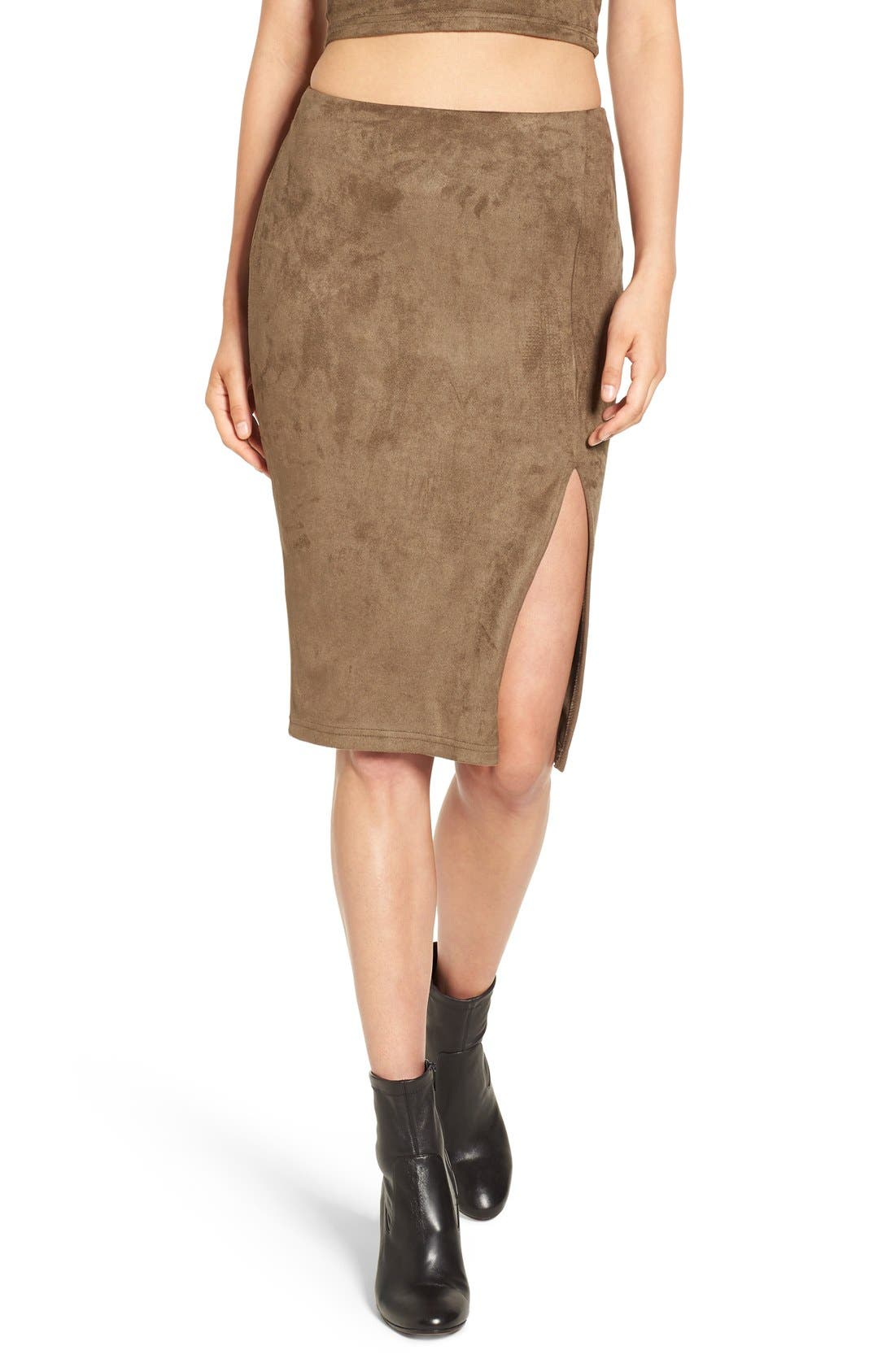 Alternate Image 1 Selected - Missguided Faux Suede Skirt