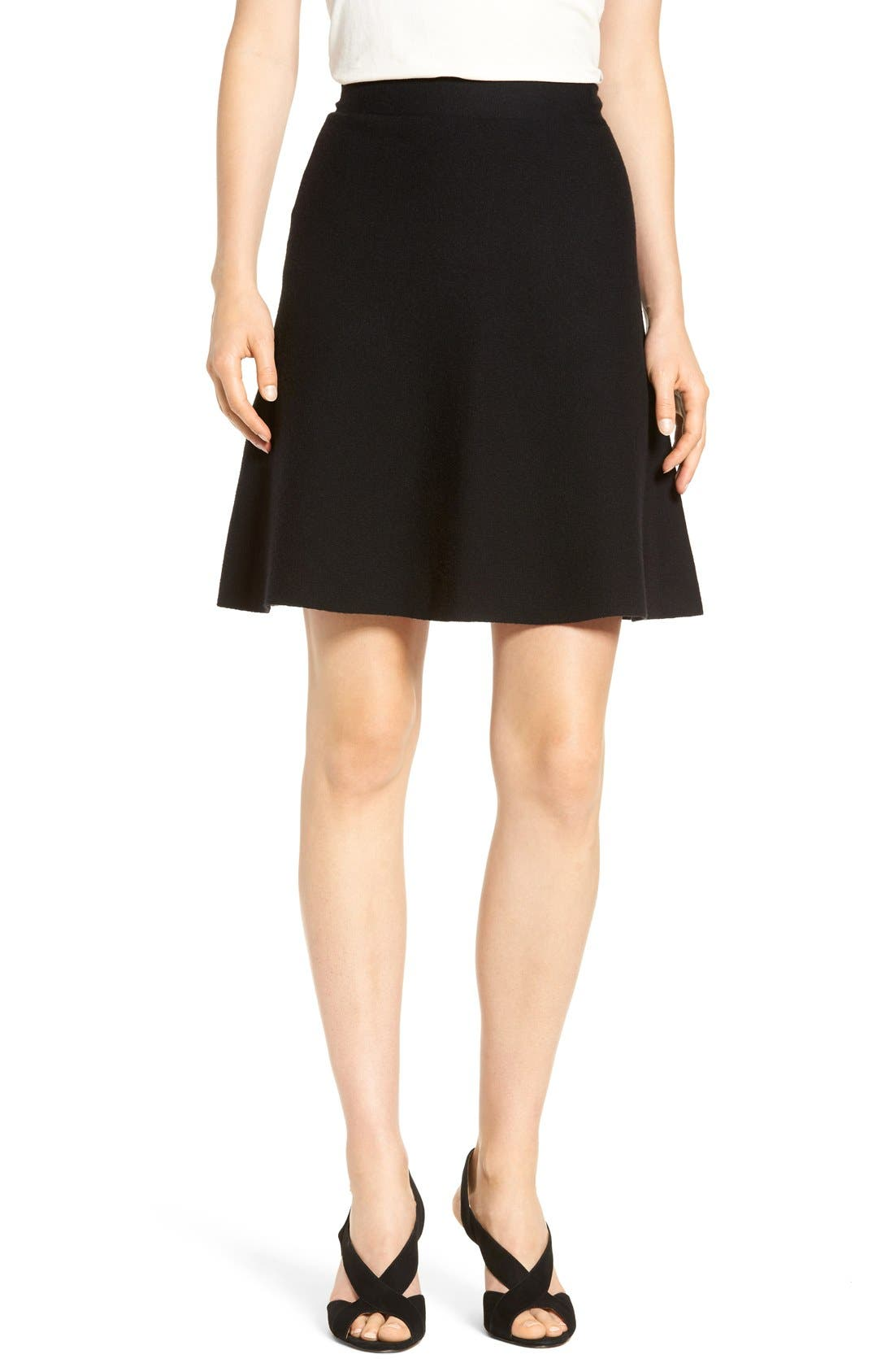 Alternate Image 1 Selected - Halogen® Knit Skater Skirt (Regular & Petite)