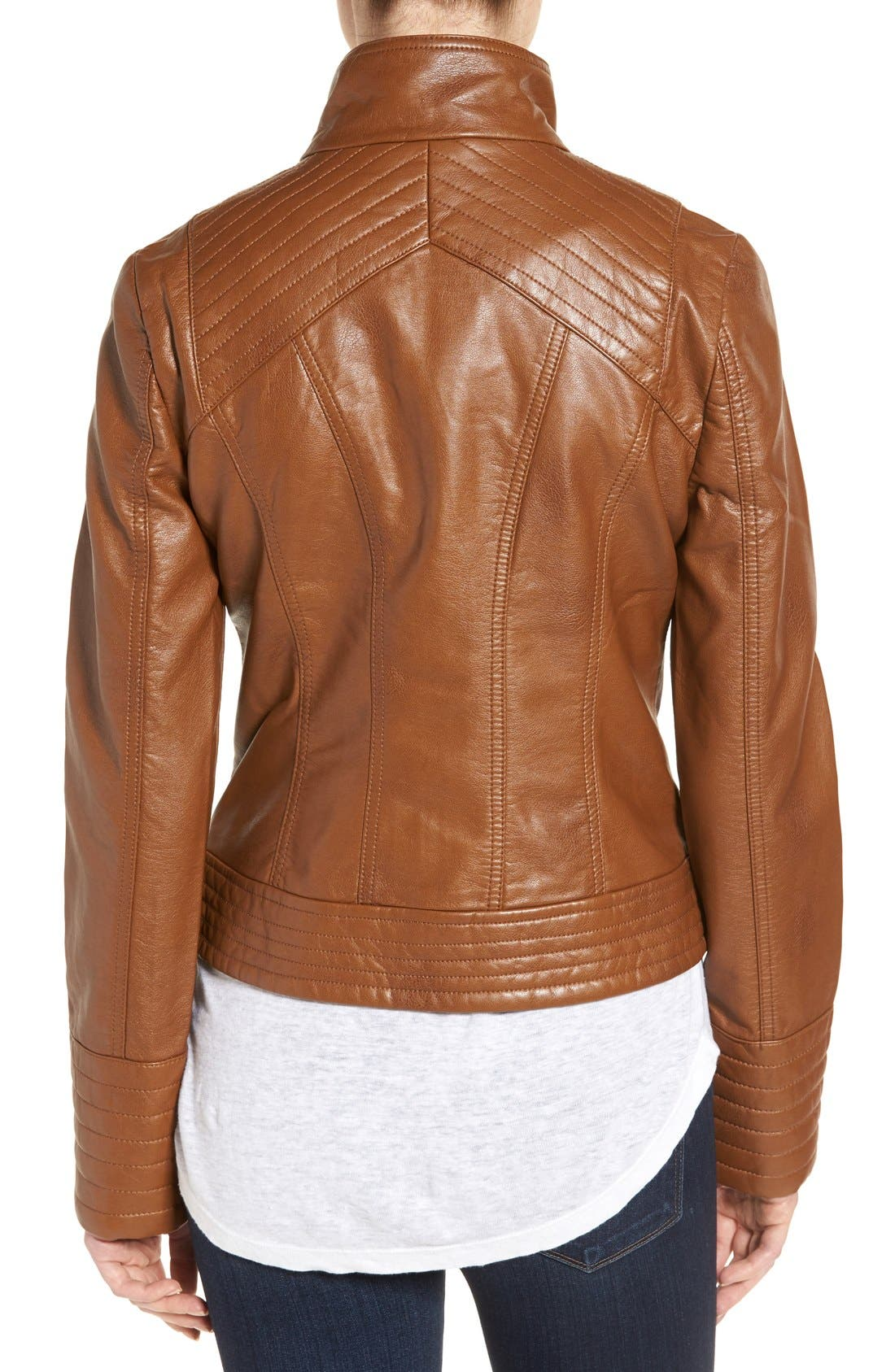 Alternate Image 2  - Jessica Simpson Quilted Faux Leather Jacket