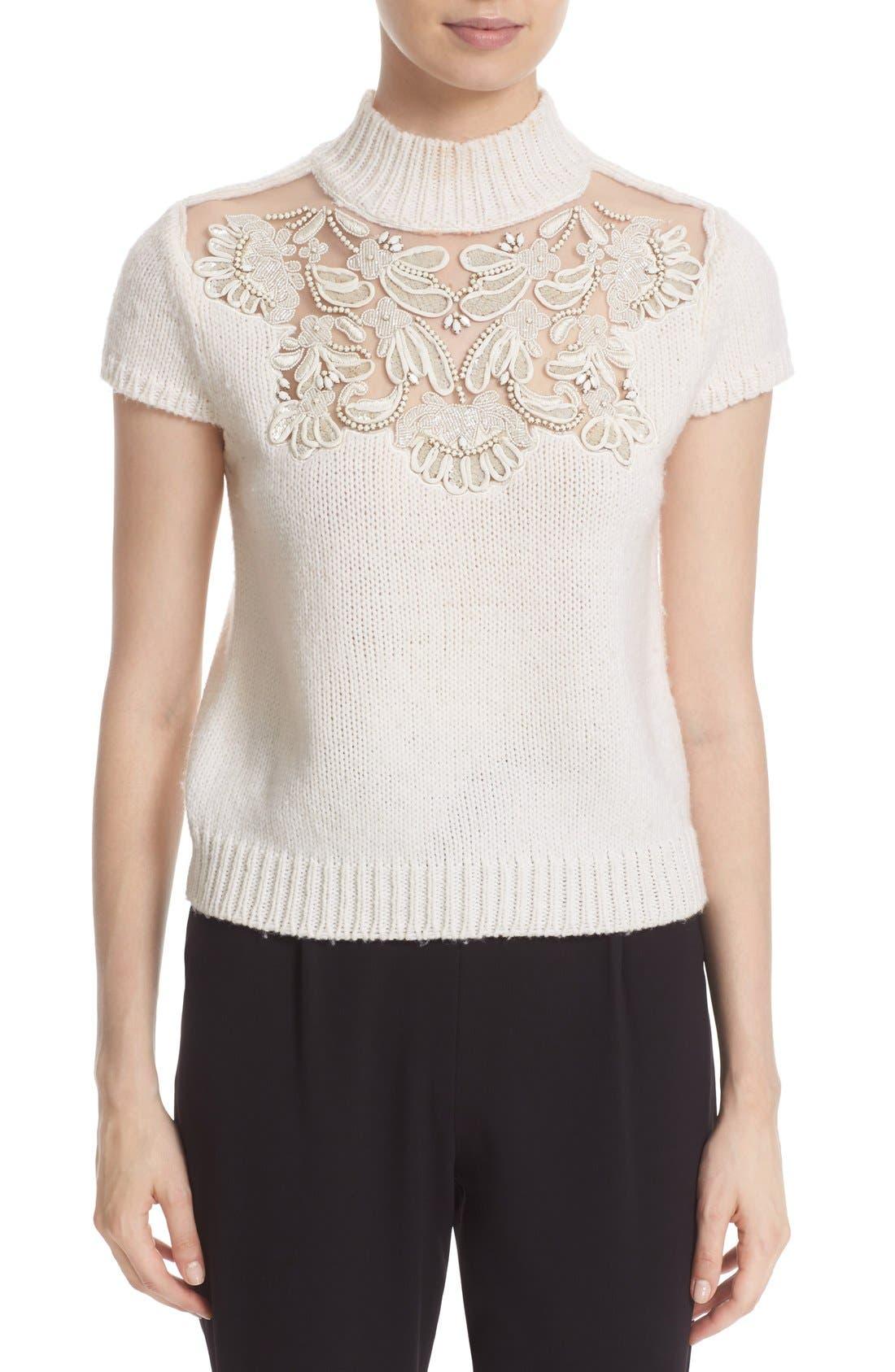 Main Image - Alice + Olivia 'Carla' Embellished Yoke Mock Neck Sweater