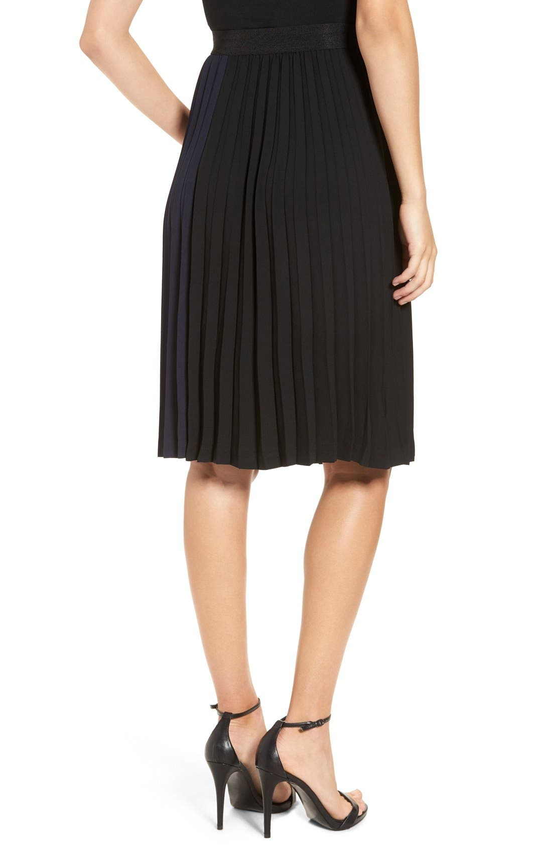 Alternate Image 2  - Leith Colorblock Pleated Midi Skirt