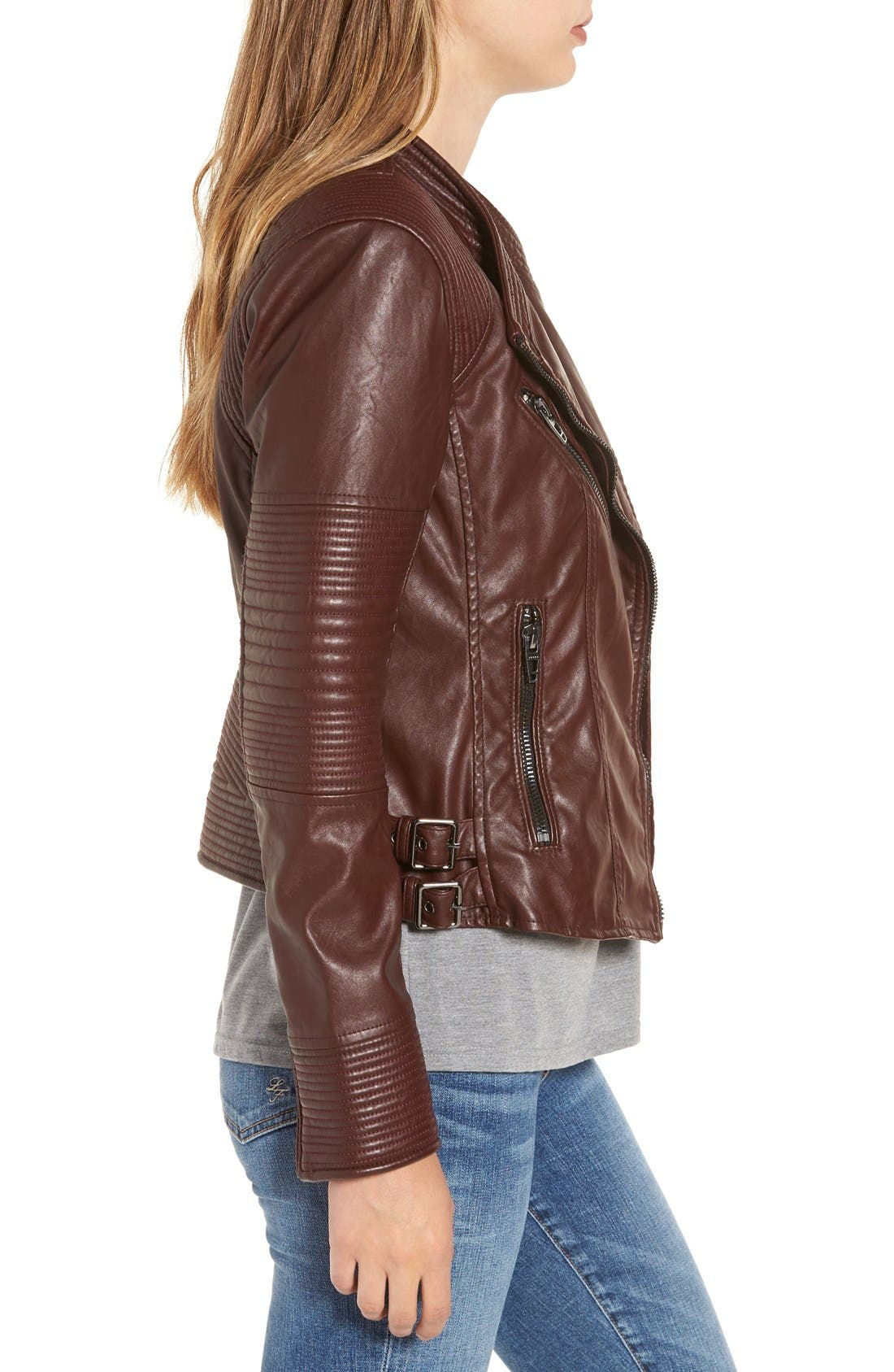 Alternate Image 3  - BLANKNYC Quilted Faux Leather Moto Jacket
