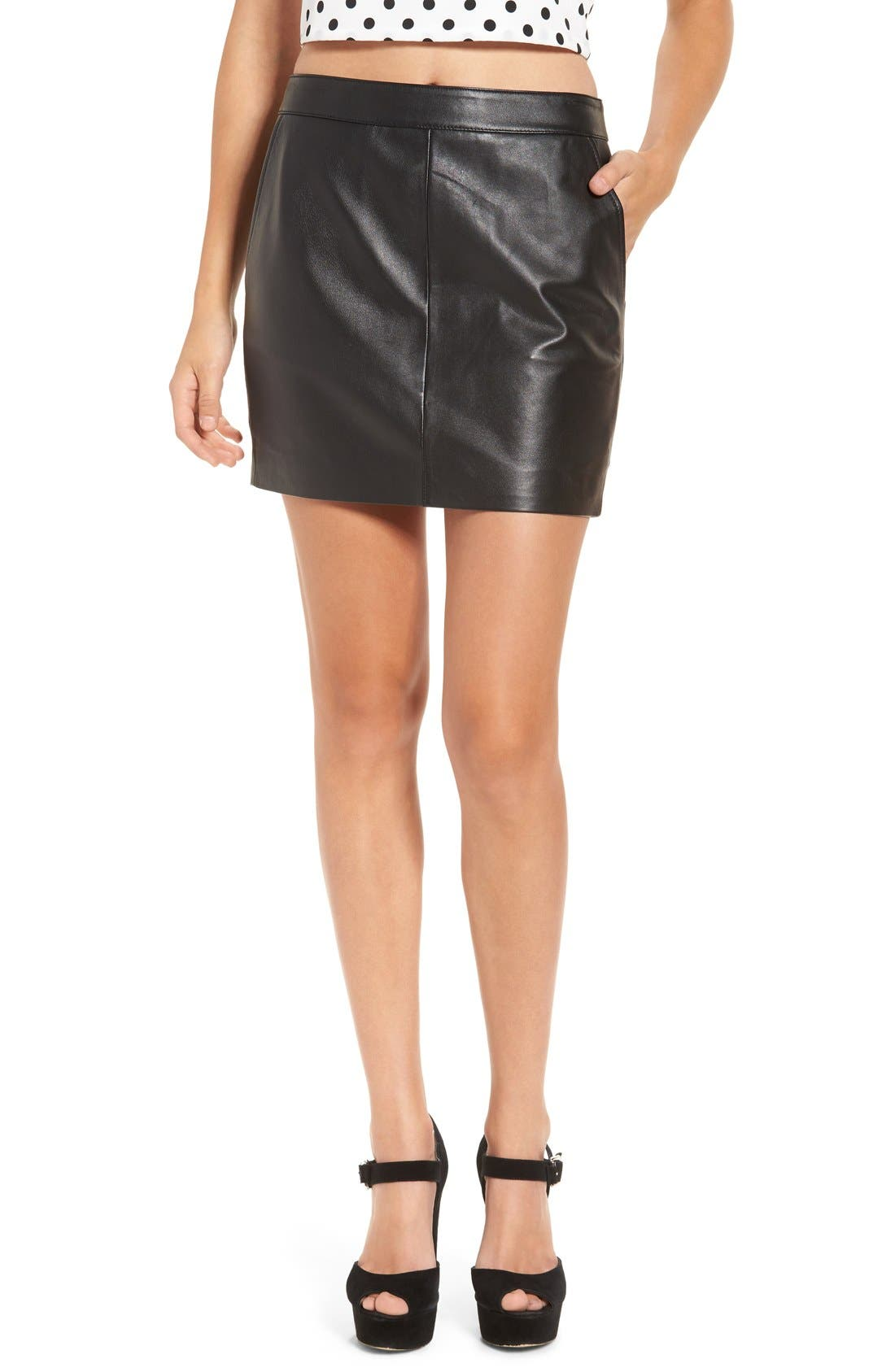 Alternate Image 1 Selected - Leith Leather Miniskirt
