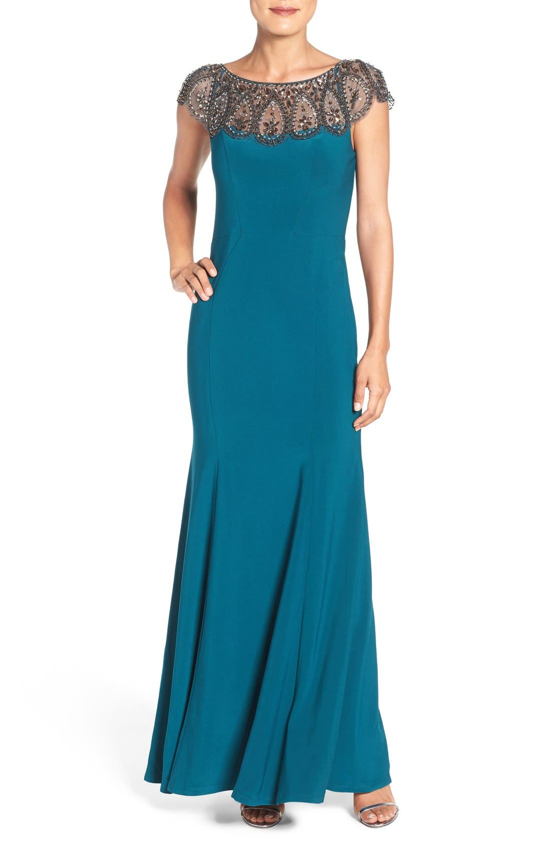 XSCAPE Embellished Illusion Jersey Gown