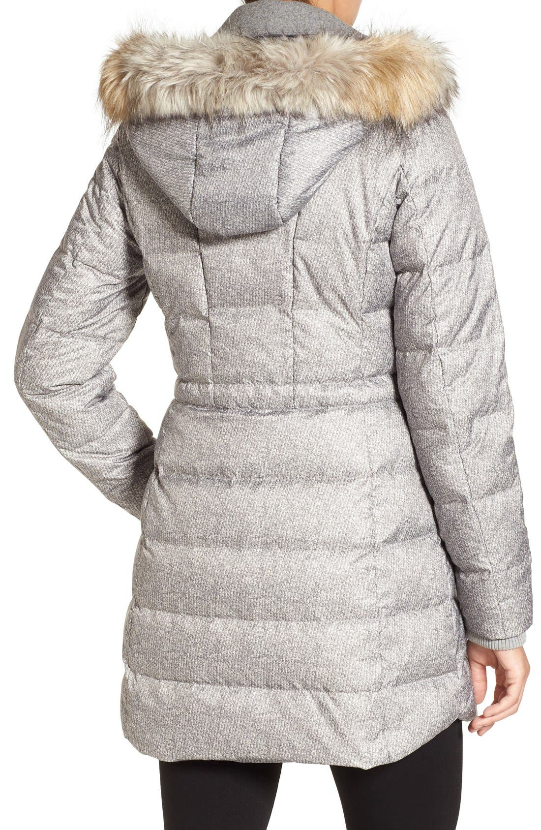 Alternate Image 2  - Catherine Catherine Malandrino Print Quilted Coat with Faux Fur Trim