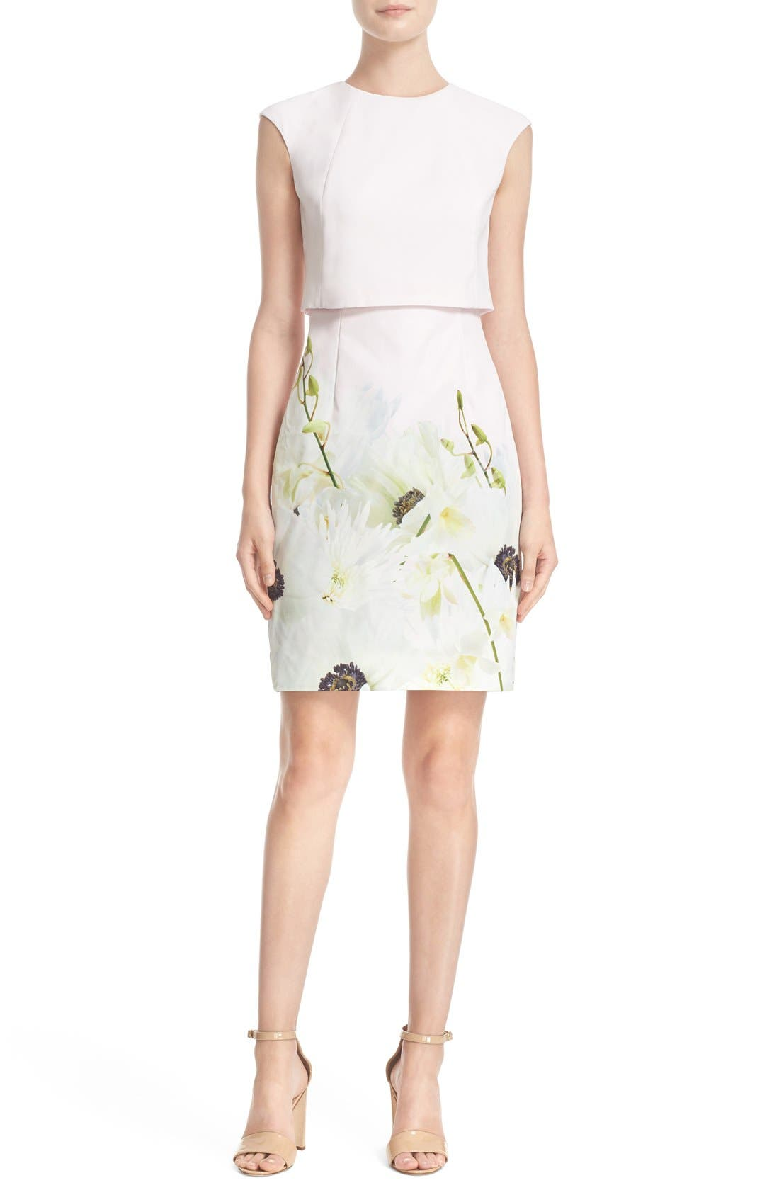 Alternate Image 1 Selected - Ted Baker London 'Sneha - Pearly Petals' Popover Bodice Sheath Dress