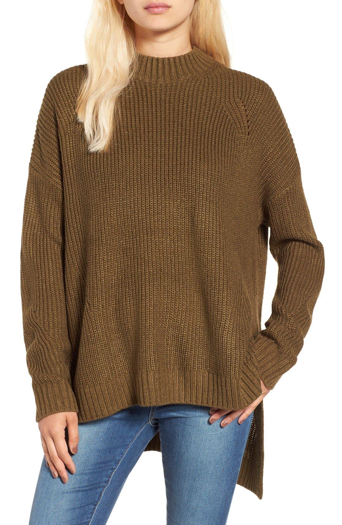 Main Image - BP. Mock Neck Shaker Stitch Pullover
