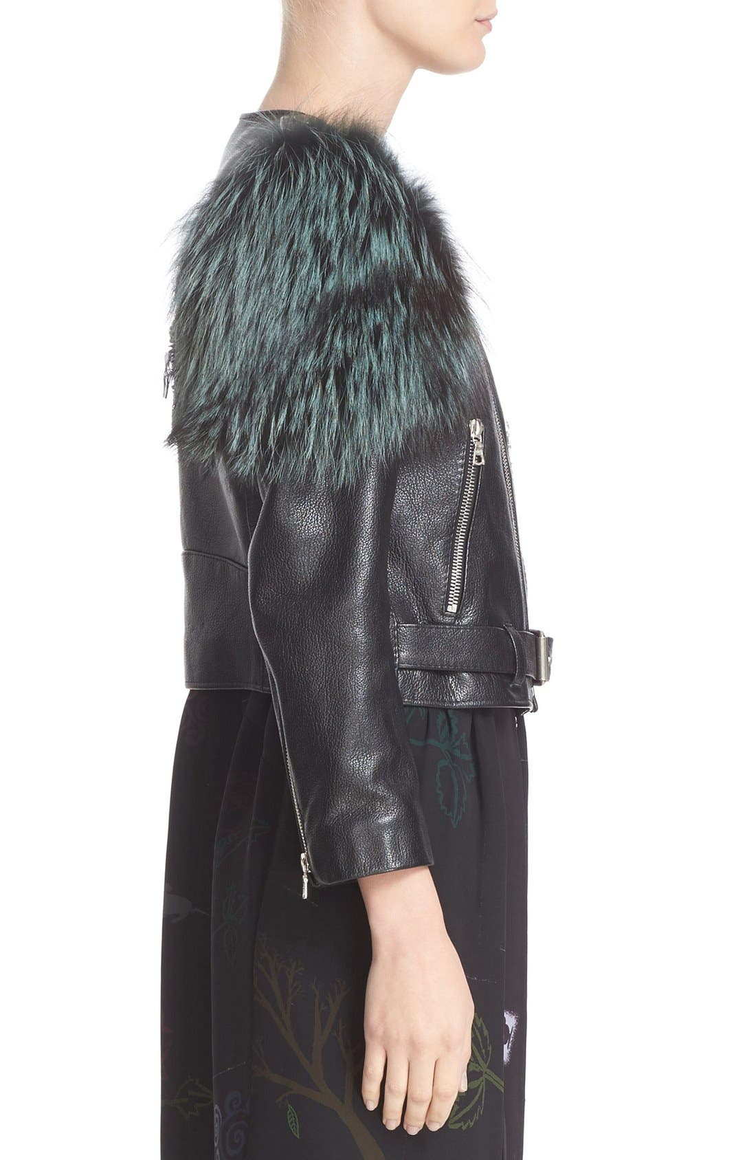 Alternate Image 5  - MARC JACOBS Leather Moto Jacket with Genuine Fox Fur Trim