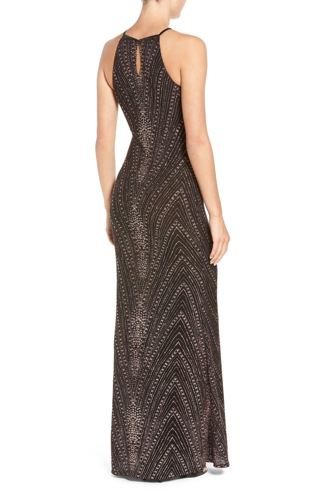 Alternate Image 2  - Jump Apparel High Neck Glitter Gown