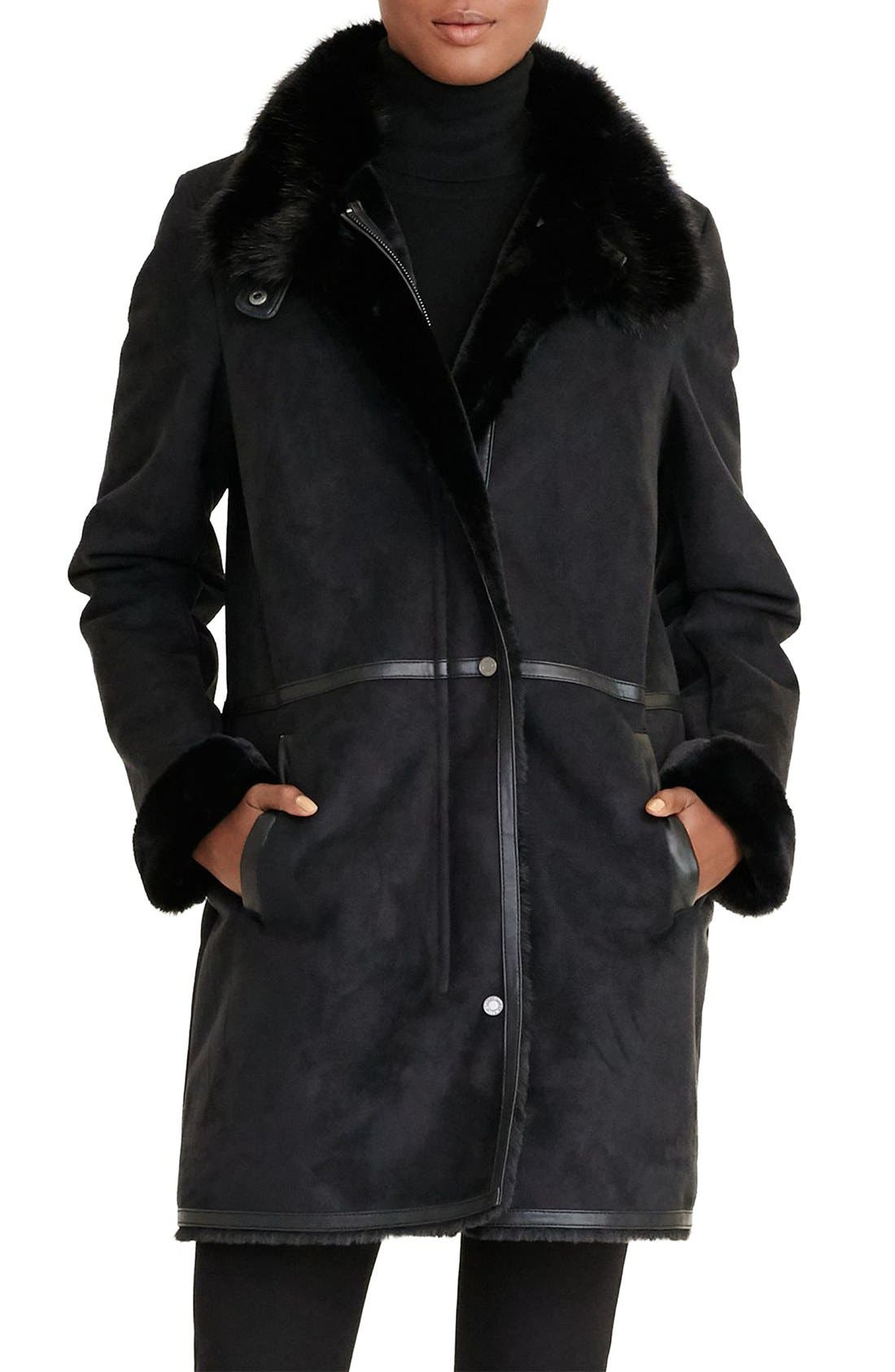 Alternate Image 1 Selected - Lauren Ralph Lauren Faux Shearling Coat