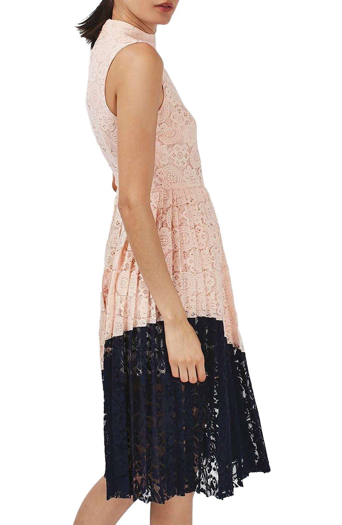 Alternate Image 2  - Topshop Colorblock Pleated Lace Midi Dress