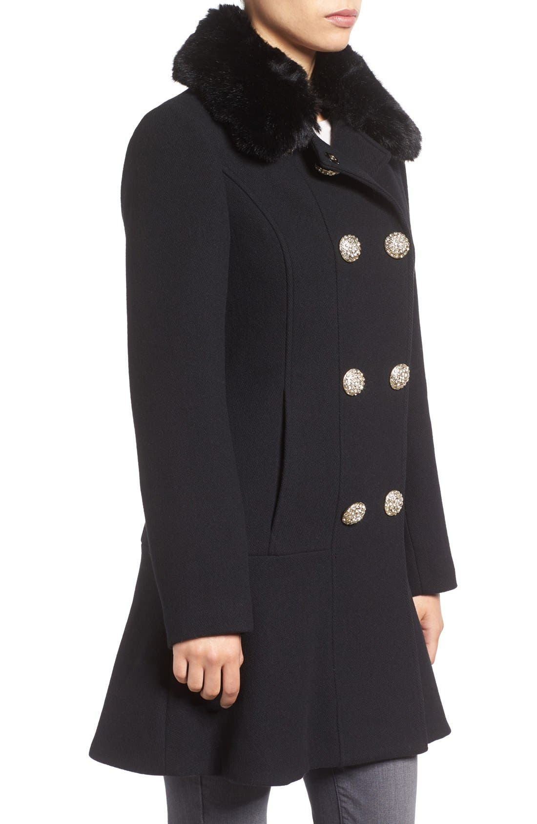 Alternate Image 3  - kate spade new york double breasted twill coat with faux fur collar