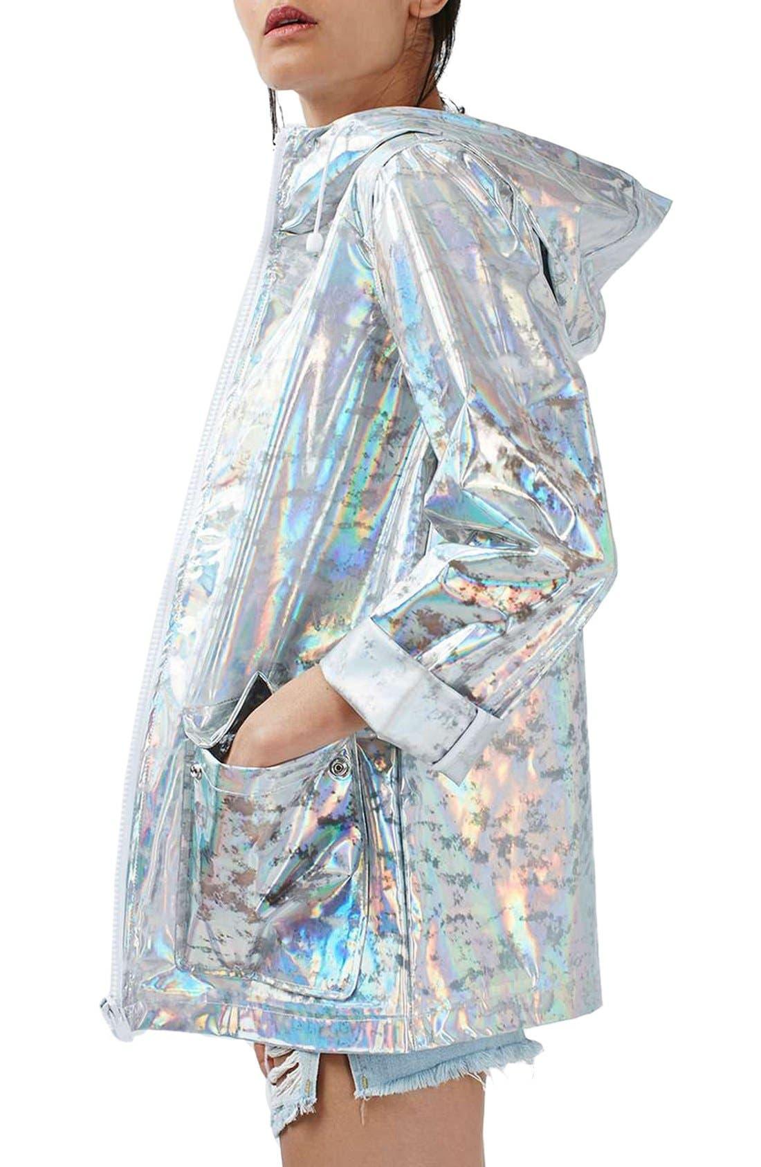 Alternate Image 3  - Topshop Holographic Rain Jacket (Regular & Petite)