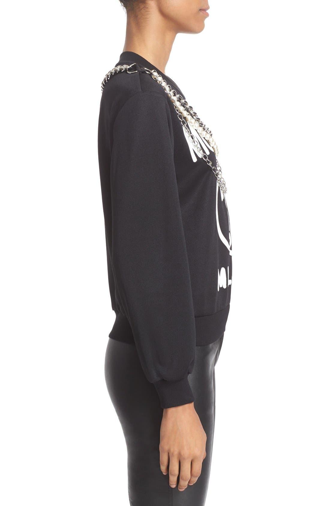 Alternate Image 4  - Moschino Chain & Faux Pearl Embellished Sweatshirt