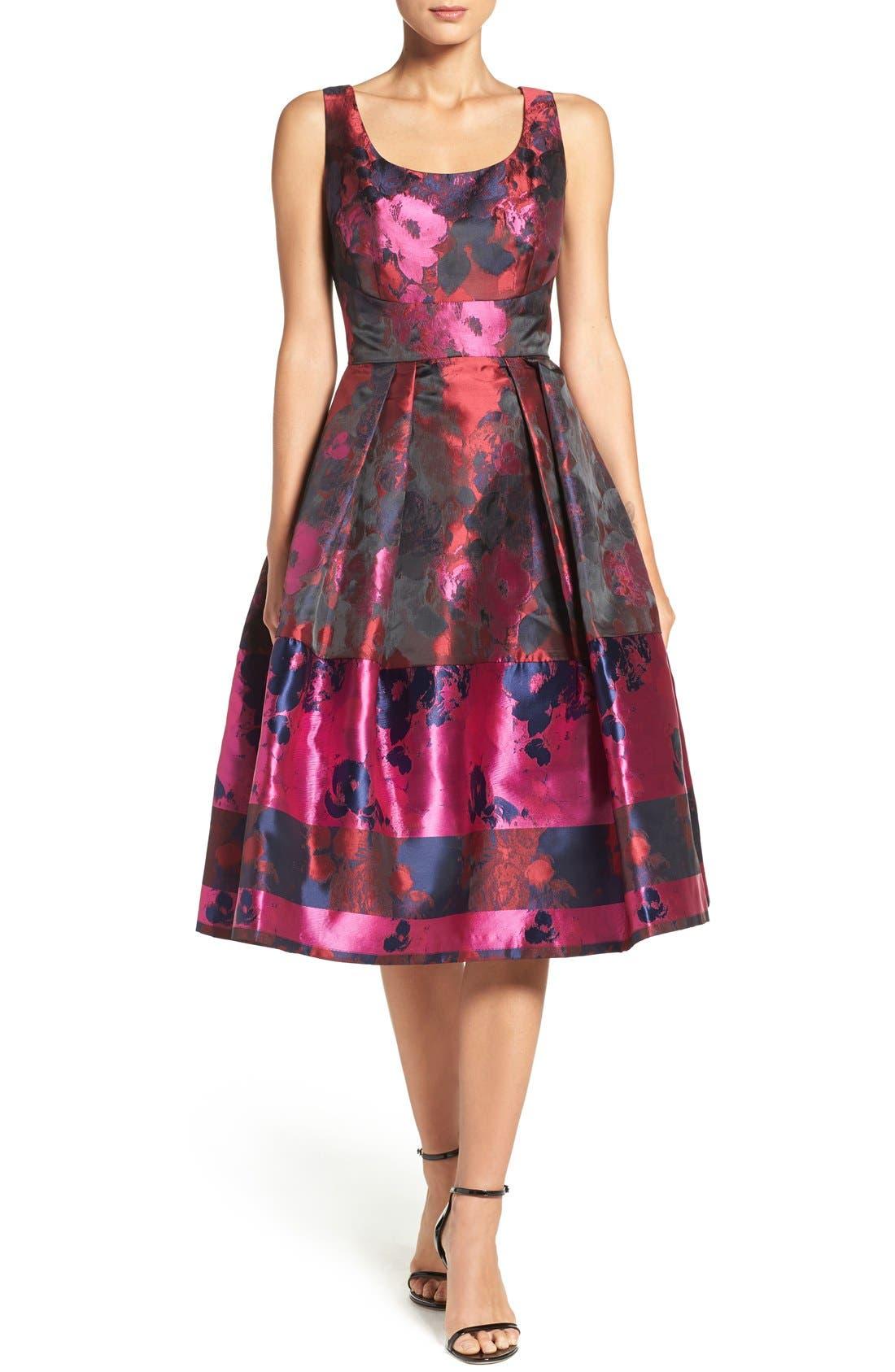 Main Image - Ivanka Trump Floral Organza Fit & Flare Midi Dress