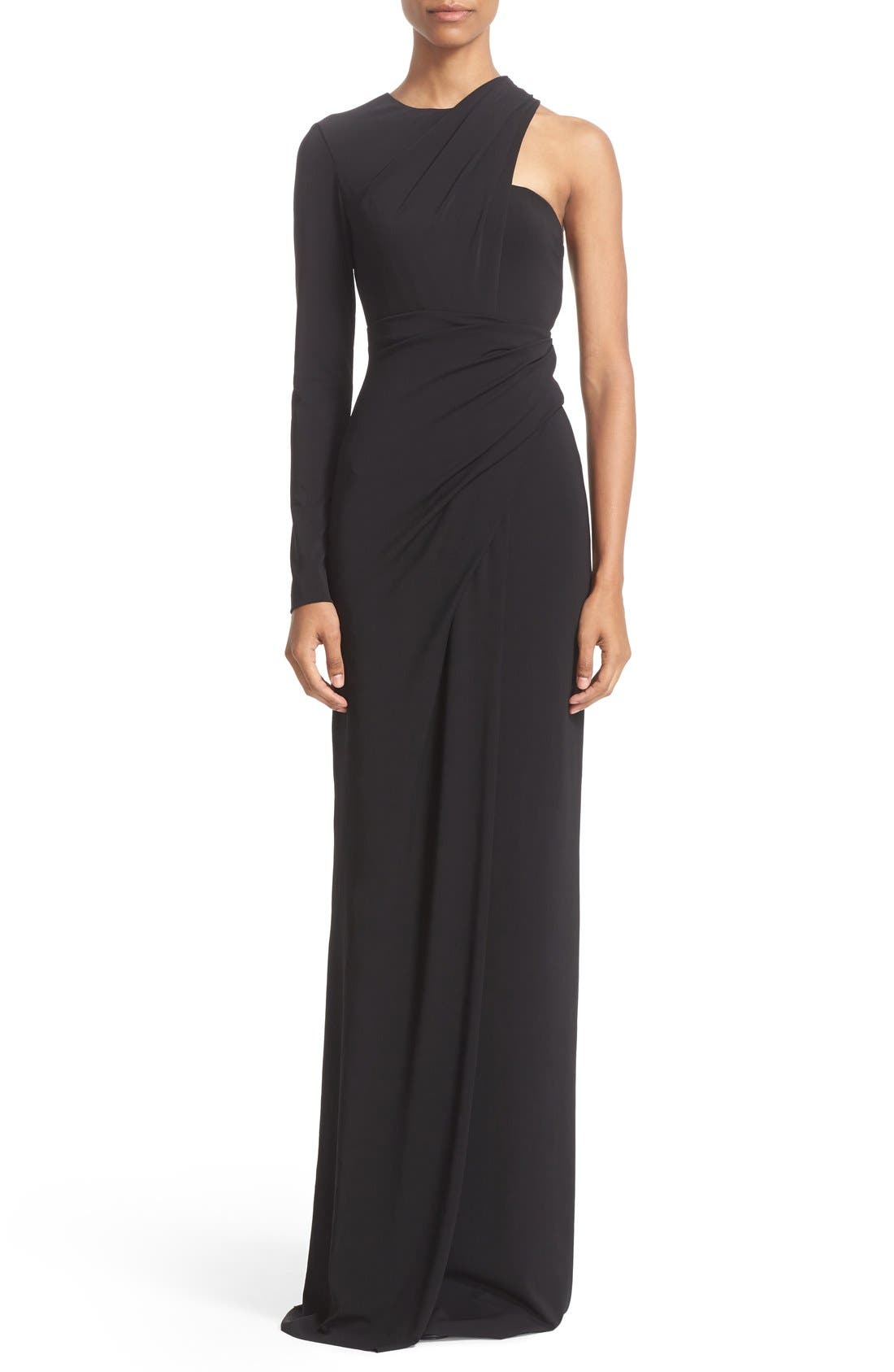 ALEXANDER WANG Draped Asymmetrical One-Sleeve Gown