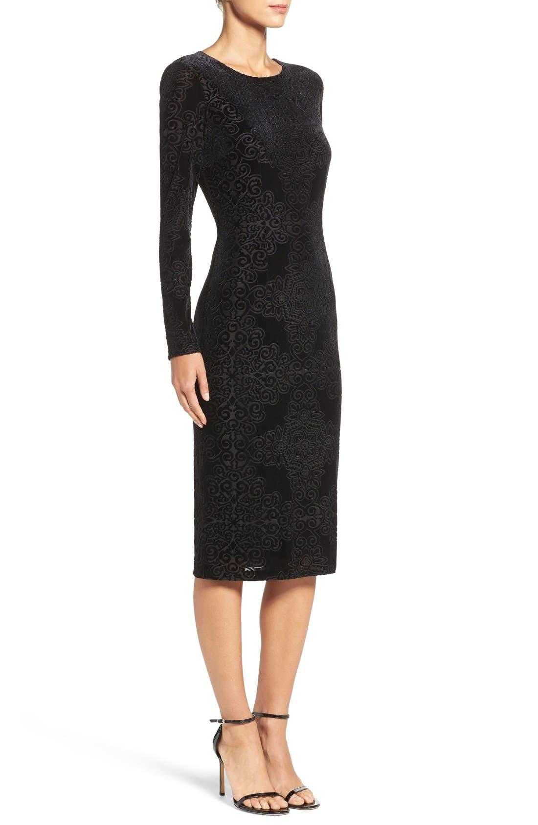 Alternate Image 3  - Maggy London Burnout Velvet Sheath Dress (Regular & Petite)