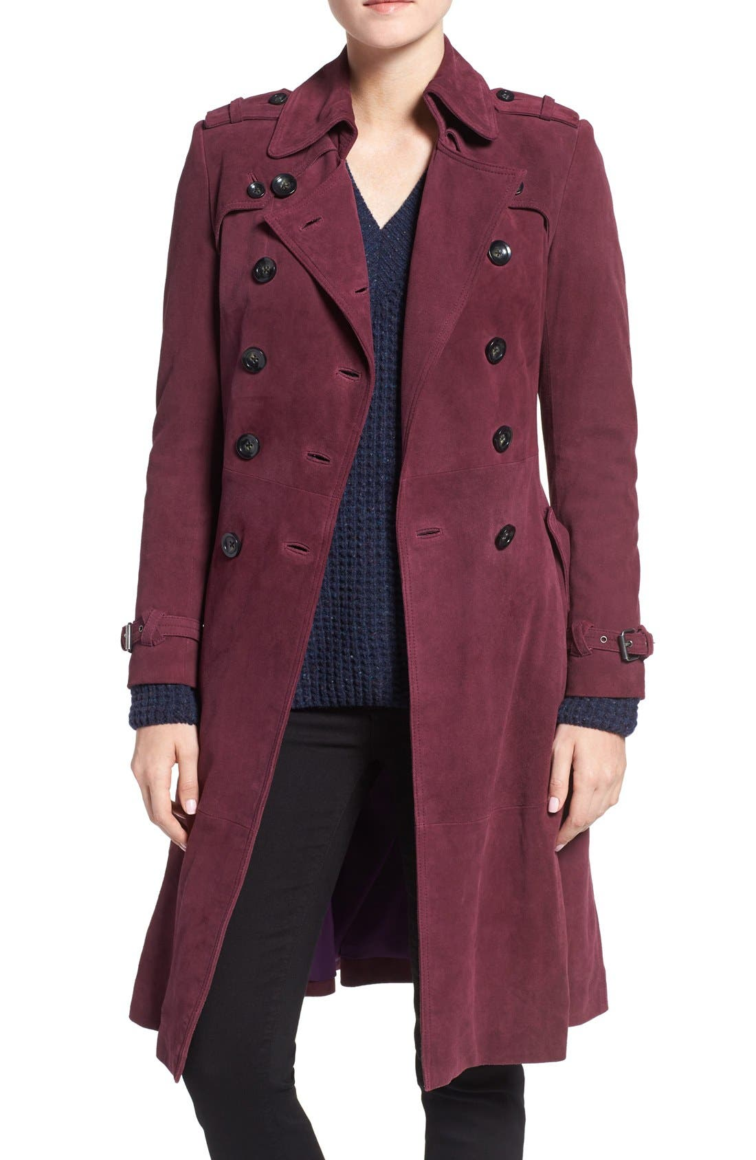 Main Image - Rebecca Minkoff 'Amis' Double Breasted Suede Trench Coat