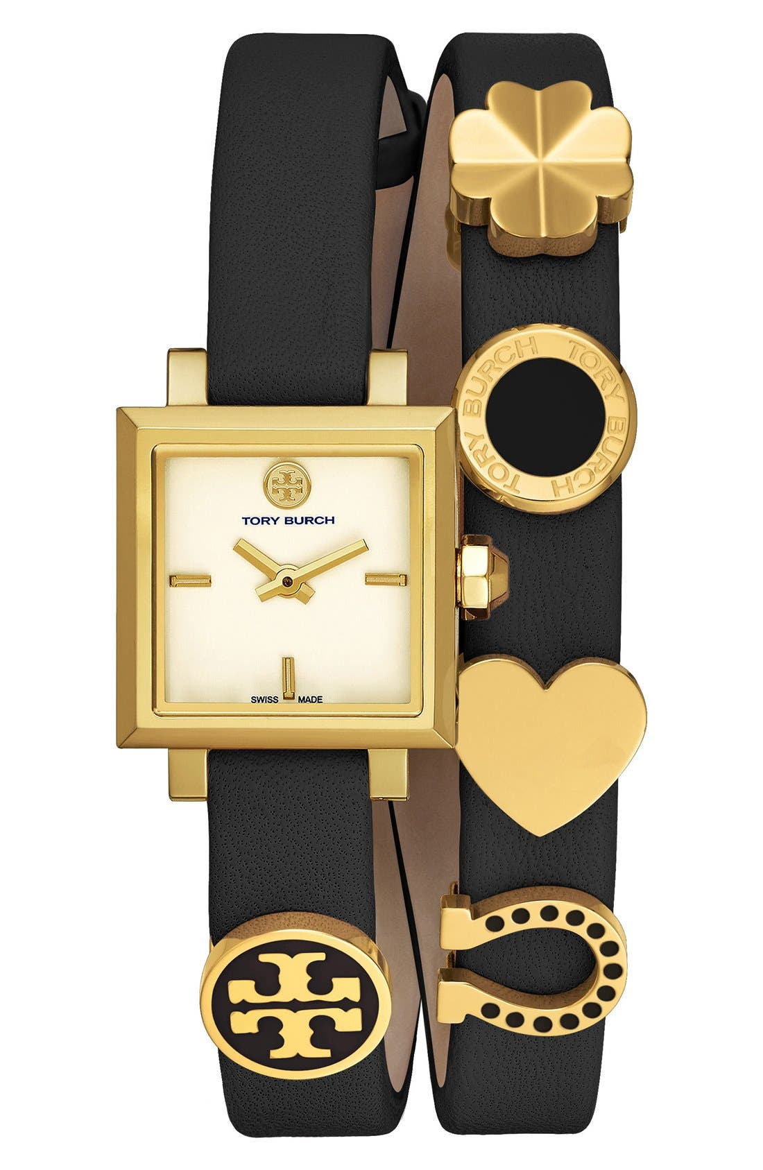 Main Image - Tory Burch 'Saucy' Double Wrap Leather Strap Watch, 25mm