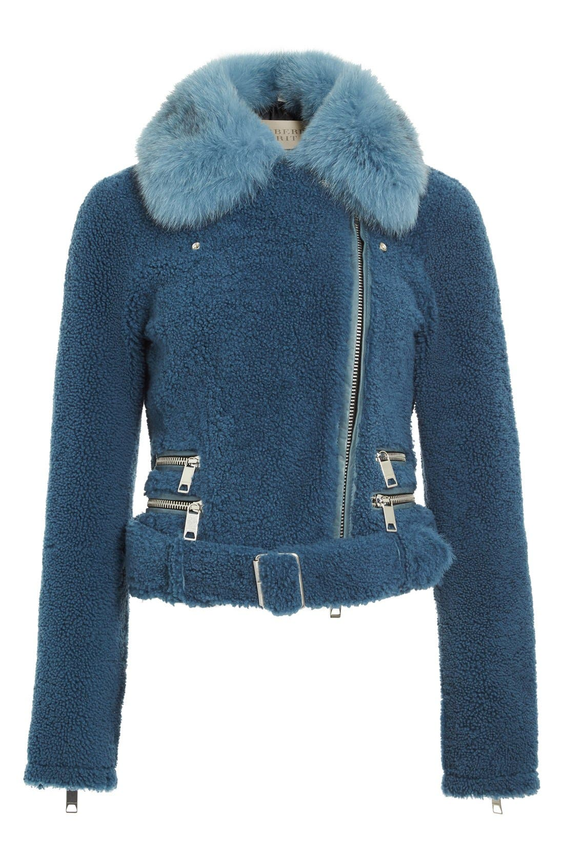 Alternate Image 4  - Burberry 'Barrsthorpe' Genuine Shearling Moto Jacket with Genuine Fox Fur Collar