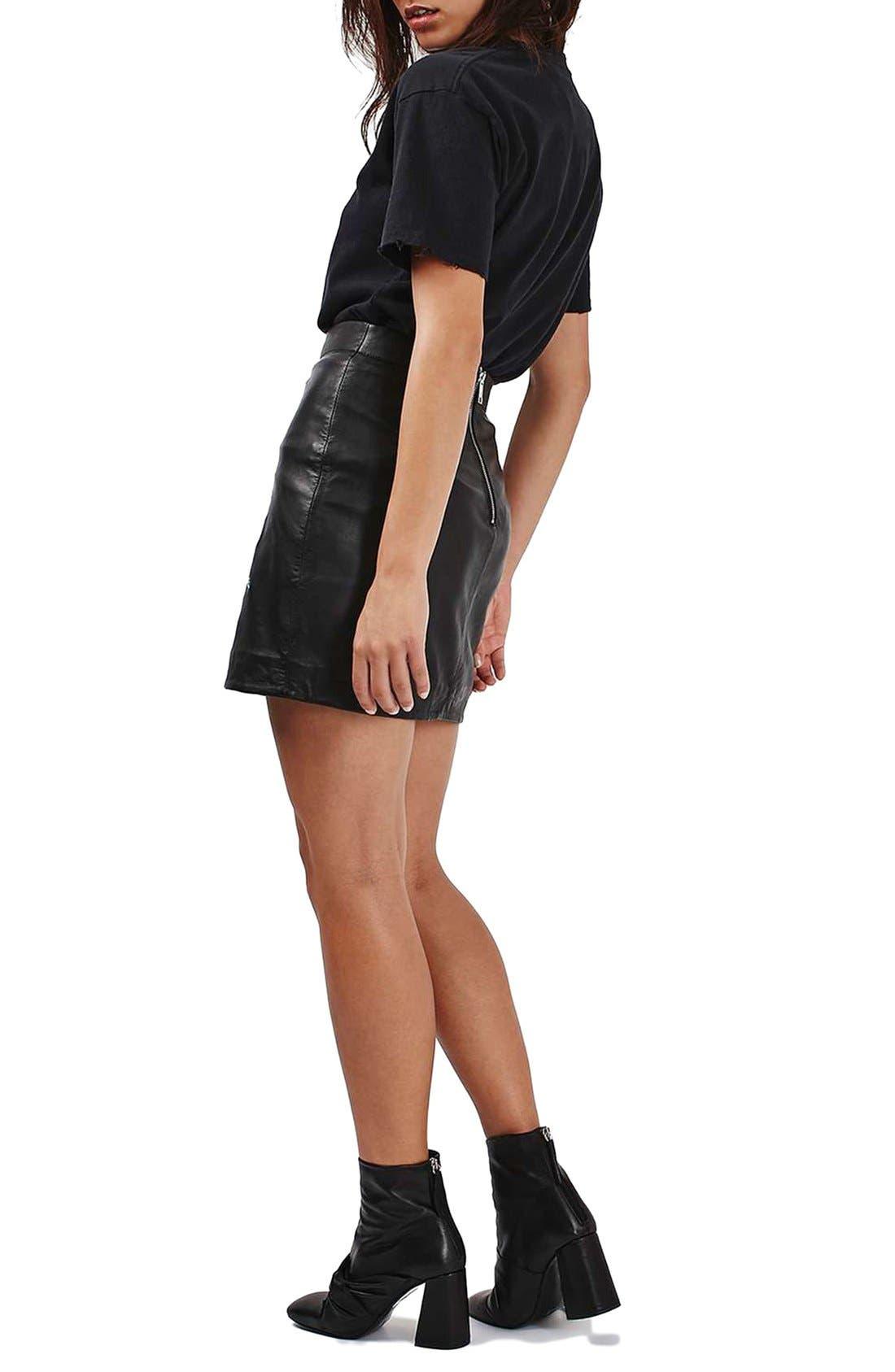 Alternate Image 3  - Topshop Snake Embroidered Leather Miniskirt