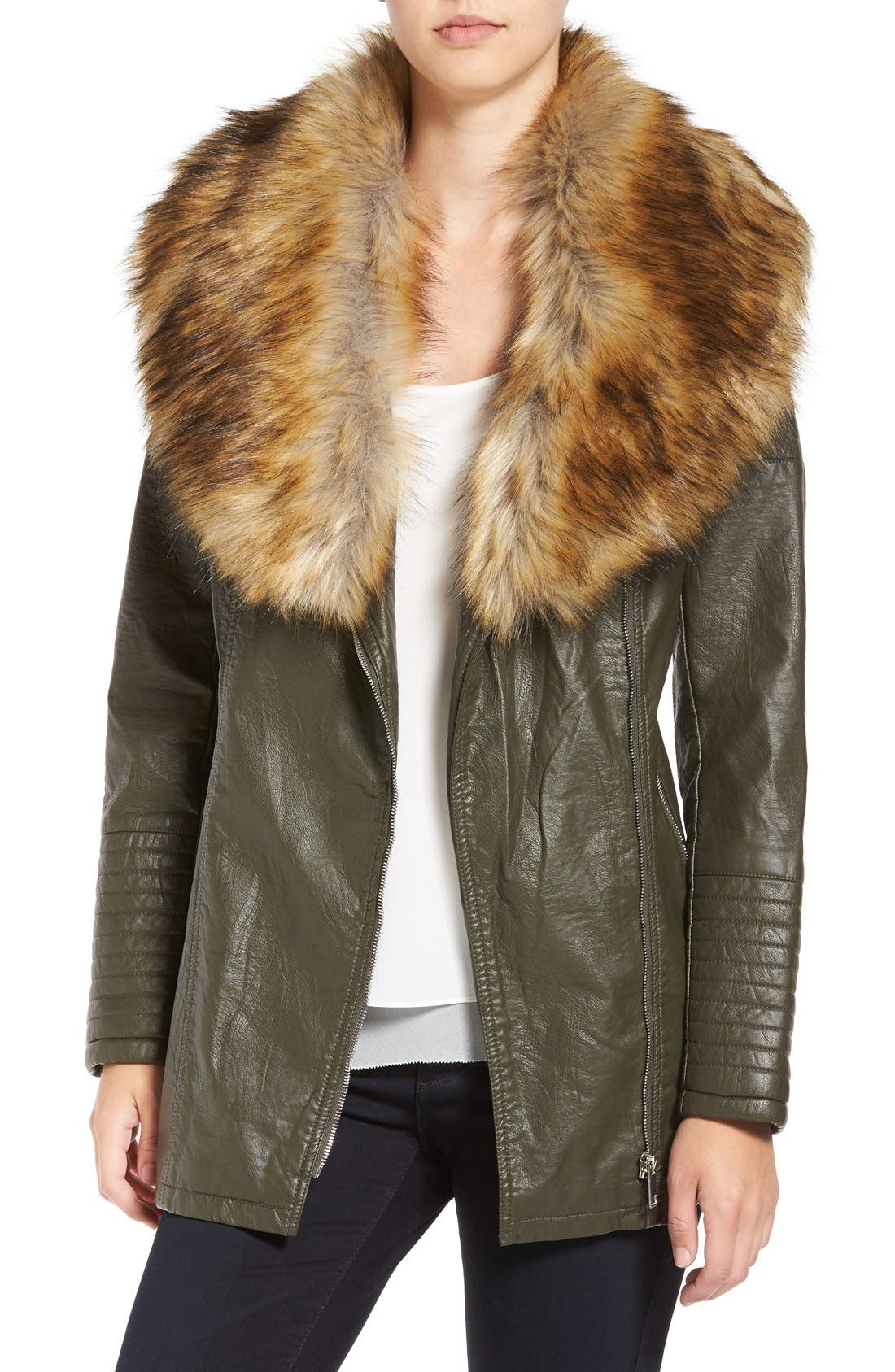LOVE TOKEN Faux Leather Jacket with Faux Fur
