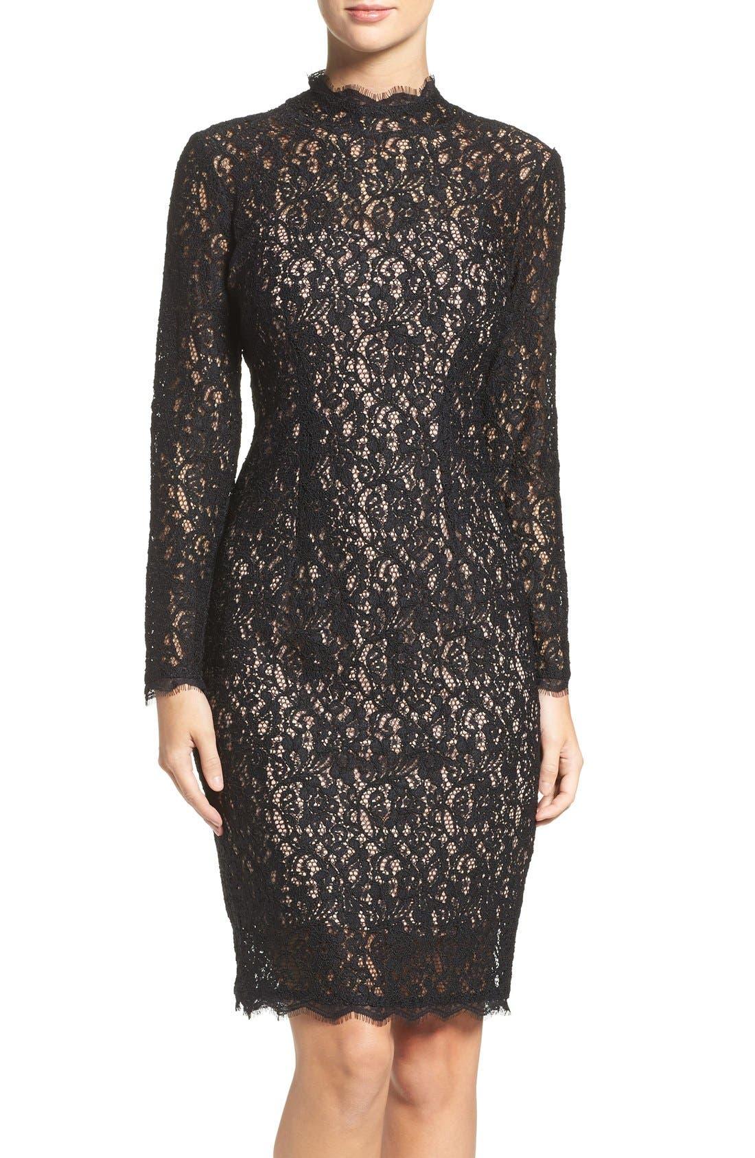 Main Image - Adrianna Papell Corded Lace Sheath Dress (Regular & Petite)