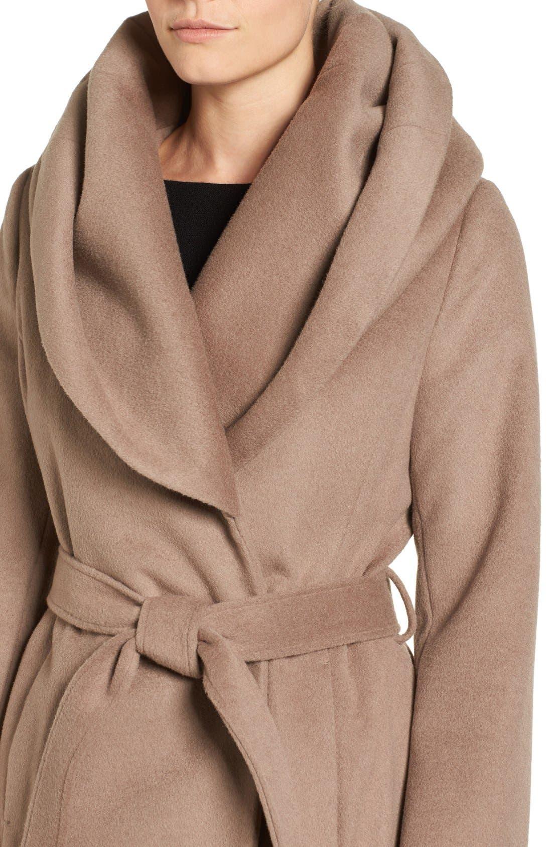 Alternate Image 4  - T Tahari Wool Blend Belted Wrap Coat
