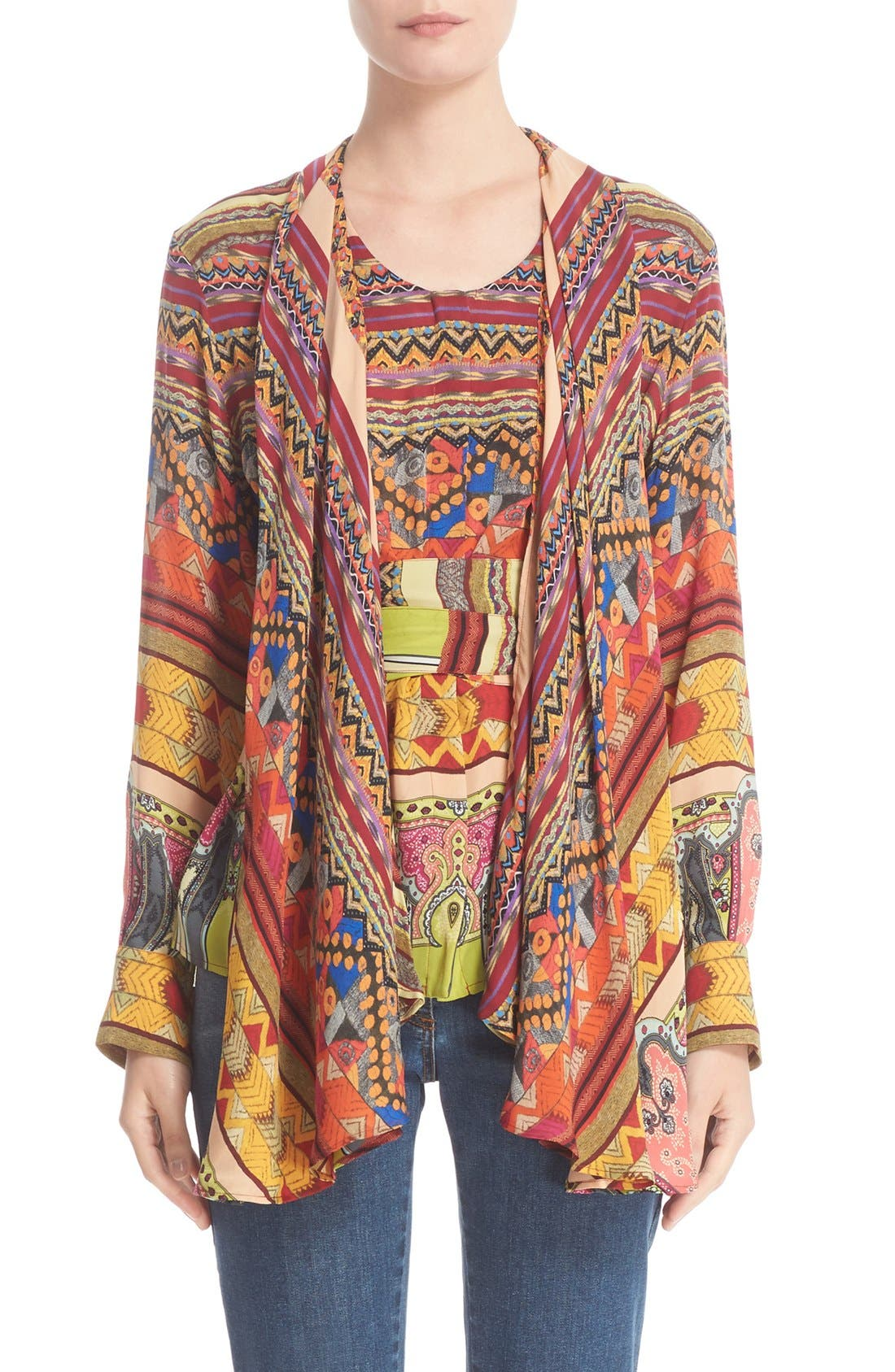 ETRO Ribbon Print Silk Faux Shawl Top