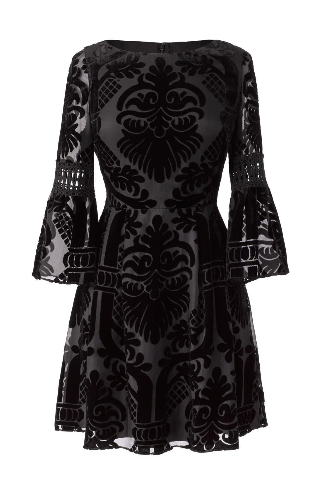 Alternate Image 7  - Eliza J Burnout Velvet Fit & Flare Dress (Regular & Petite)