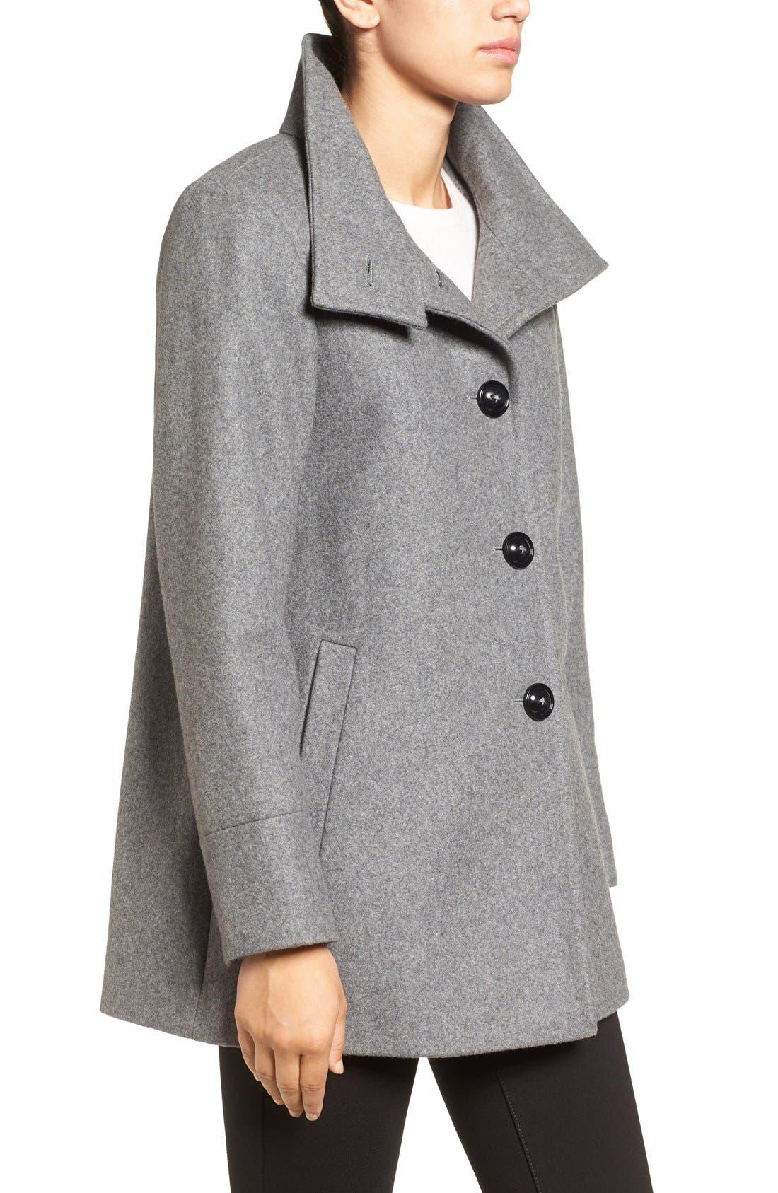 Alternate Image 3  - Larry Levine Wool Blend Swing Coat