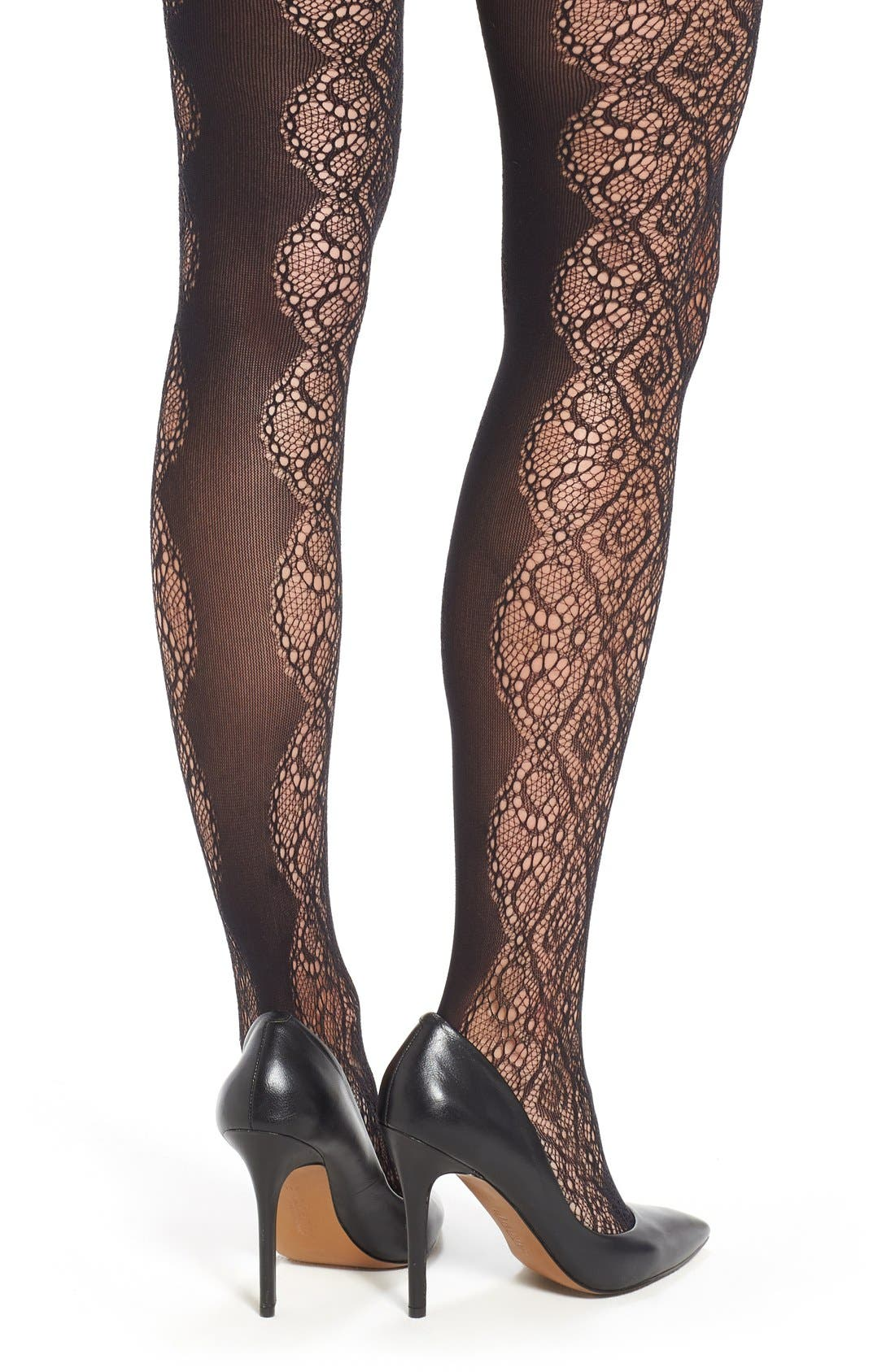 Alternate Image 2  - Nordstrom Scallop Lace Tights