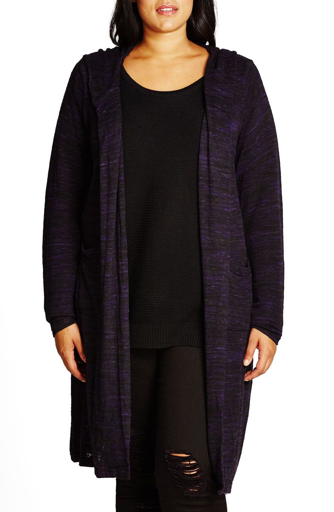 Alternate Image 1 Selected - City Chic Space Dye Hooded Cardigan (Plus Size)
