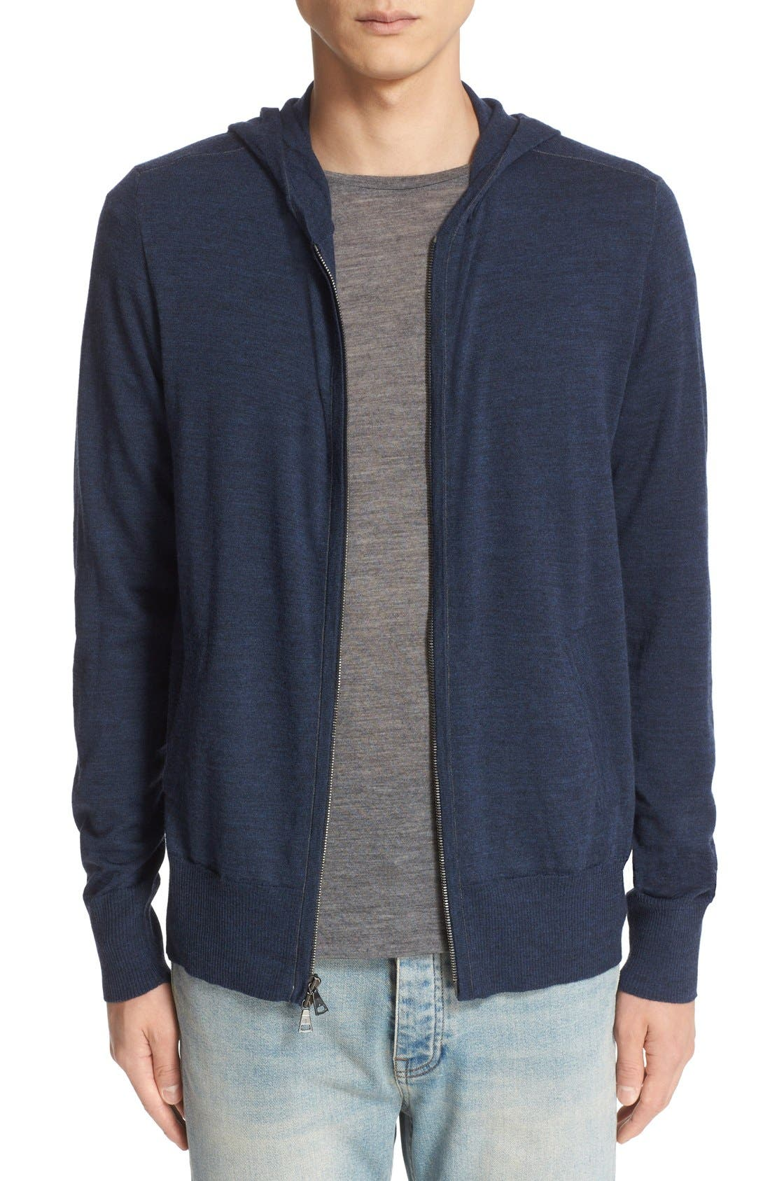 Alternate Image 1 Selected - John Varvatos Collection Merino Wool Zip Hoodie