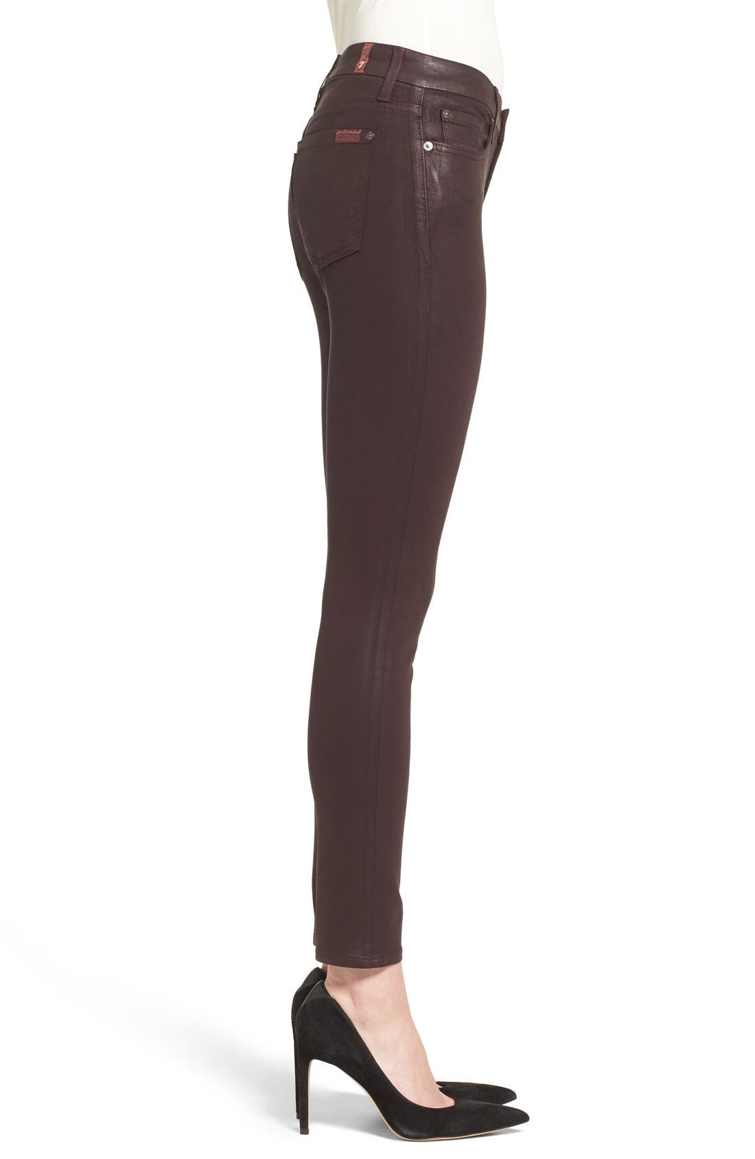 Alternate Image 3  - 7 For All Mankind® Coated Ankle Skinny Jeans (Plum Coated)