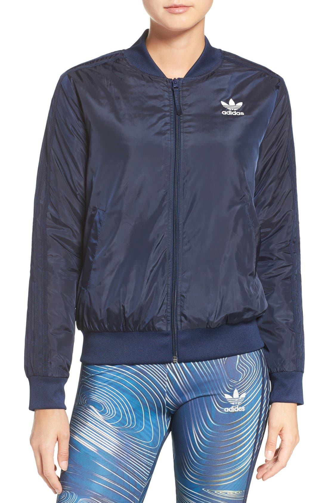 Main Image - adidas Originals 'BG' 3-Stripes Bomber Jacket