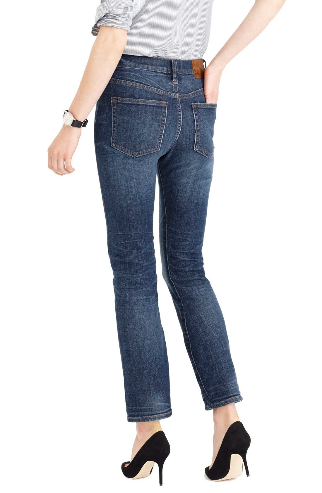 Alternate Image 2  - J.Crew 'Straight Away' Stretch High Rise Crop Jeans