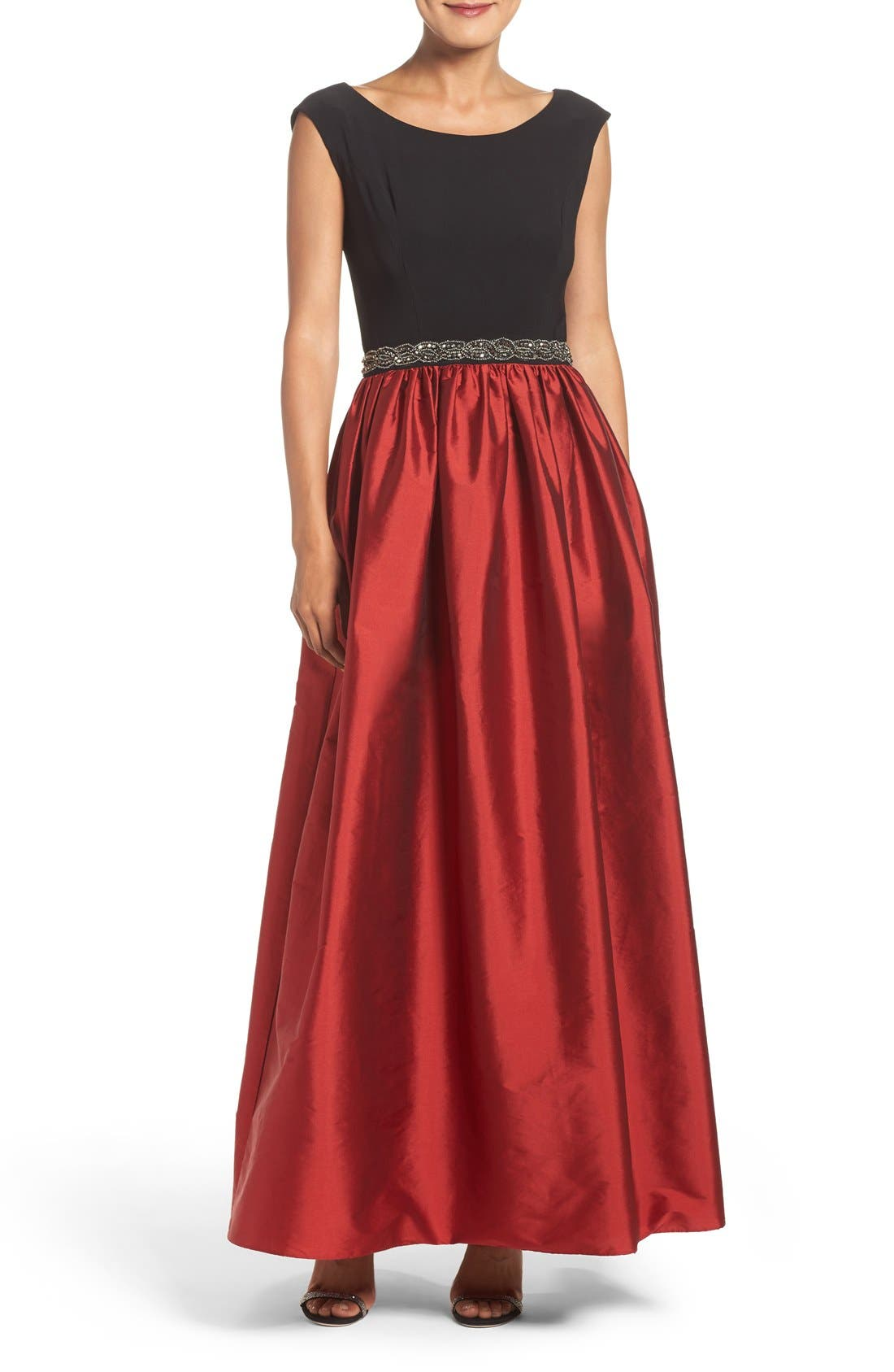 Main Image - Alex Evenings Beaded Woven Fit & Flare Gown